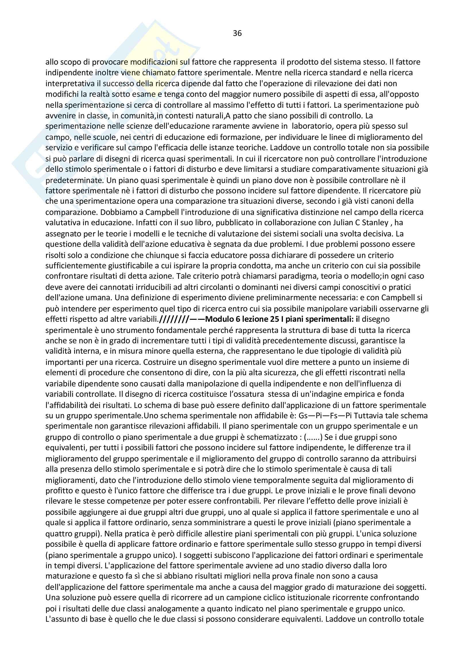 Riassunto pedagogia sperimentale - prof Melchiori Pag. 36