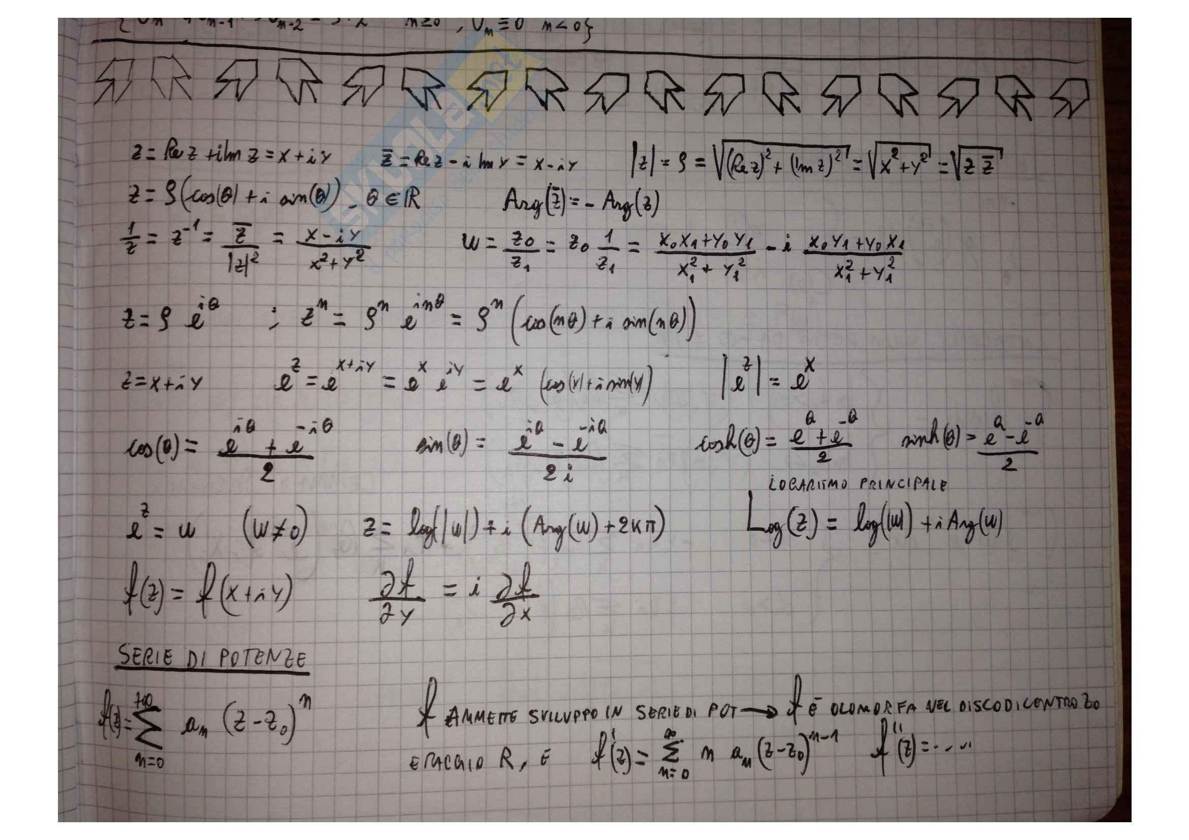 Metodi matematici per l'ingegneria - Formulario