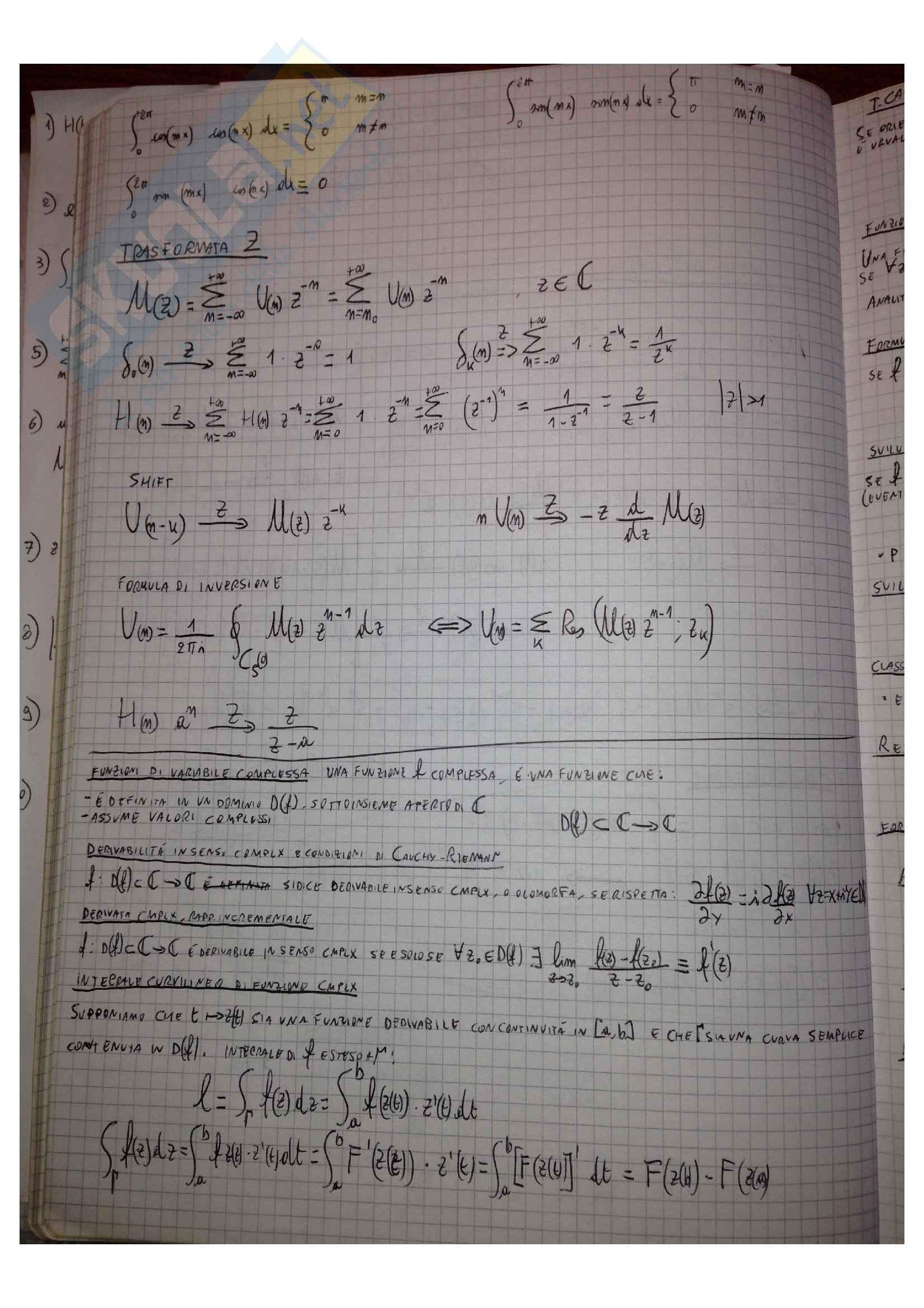 Metodi matematici per l'ingegneria - Formulario Pag. 6