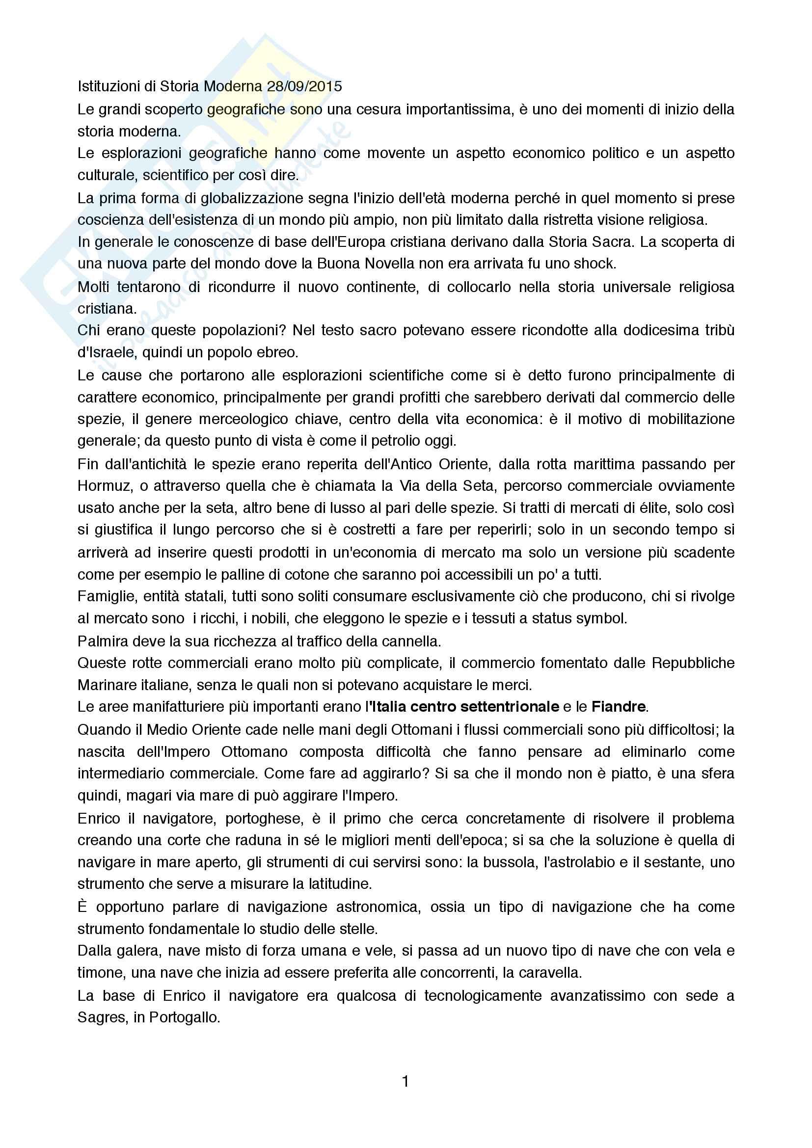 Riassunto esame Storia Moderna, prof. Addobbati Andrea, libro consigliato Storia Moderna, Capra