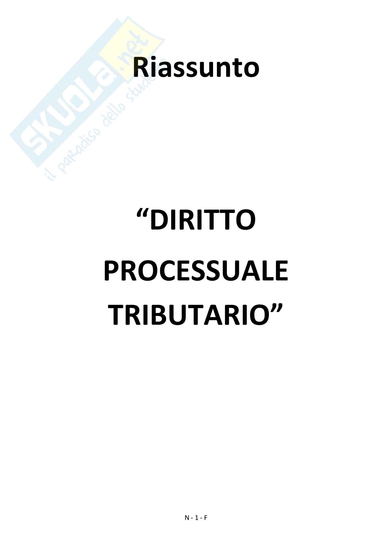"""Riassunto esame Diritto Processuale Tributario, prof.  Colli Vignarelli Andrea,  Libro consigliato """"Manuale del Processo Tributario"""", G.Giappichelli"""