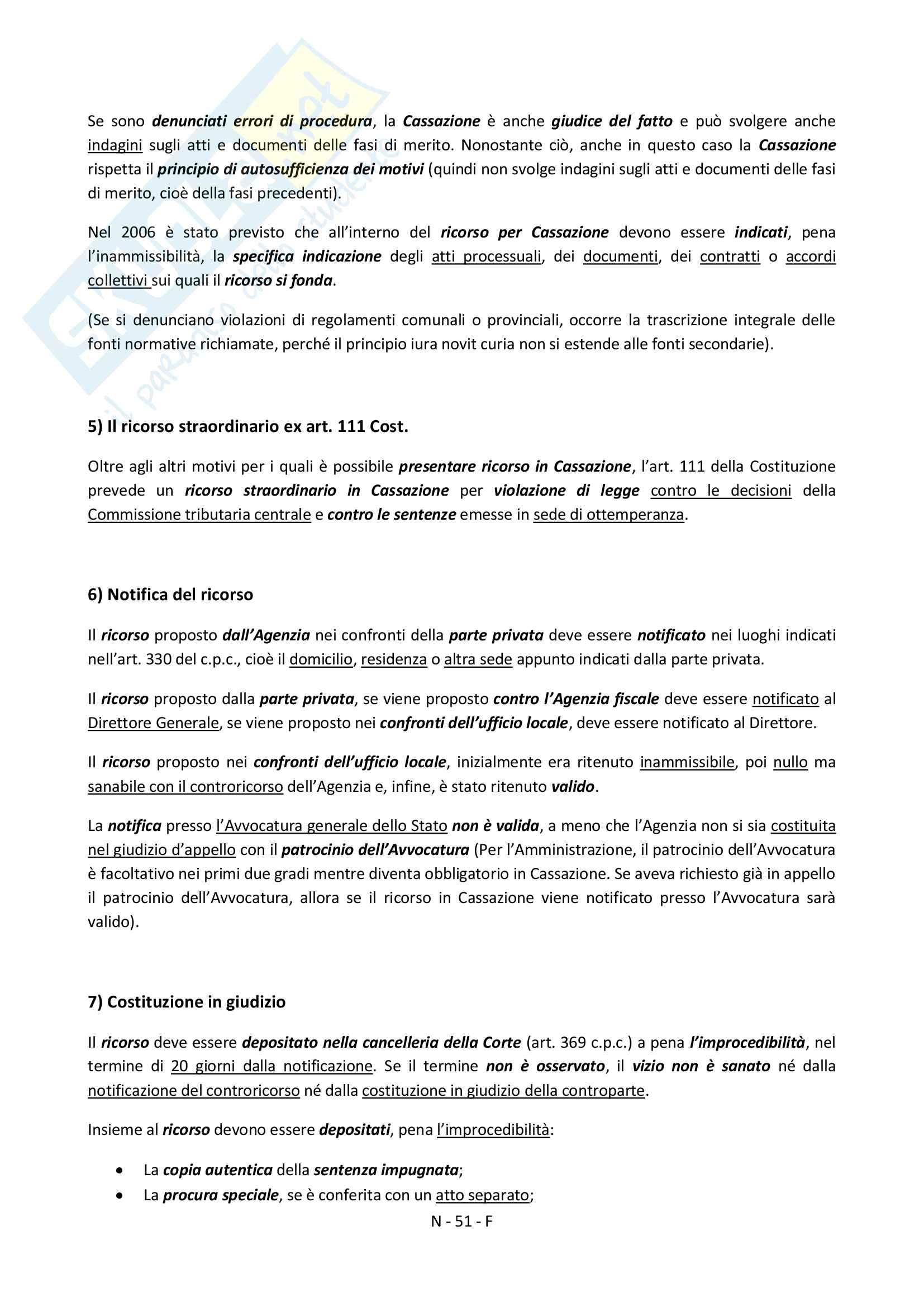 """Riassunto esame Diritto Processuale Tributario, prof.  Colli Vignarelli Andrea,  Libro consigliato """"Manuale del Processo Tributario"""", G.Giappichelli Pag. 51"""