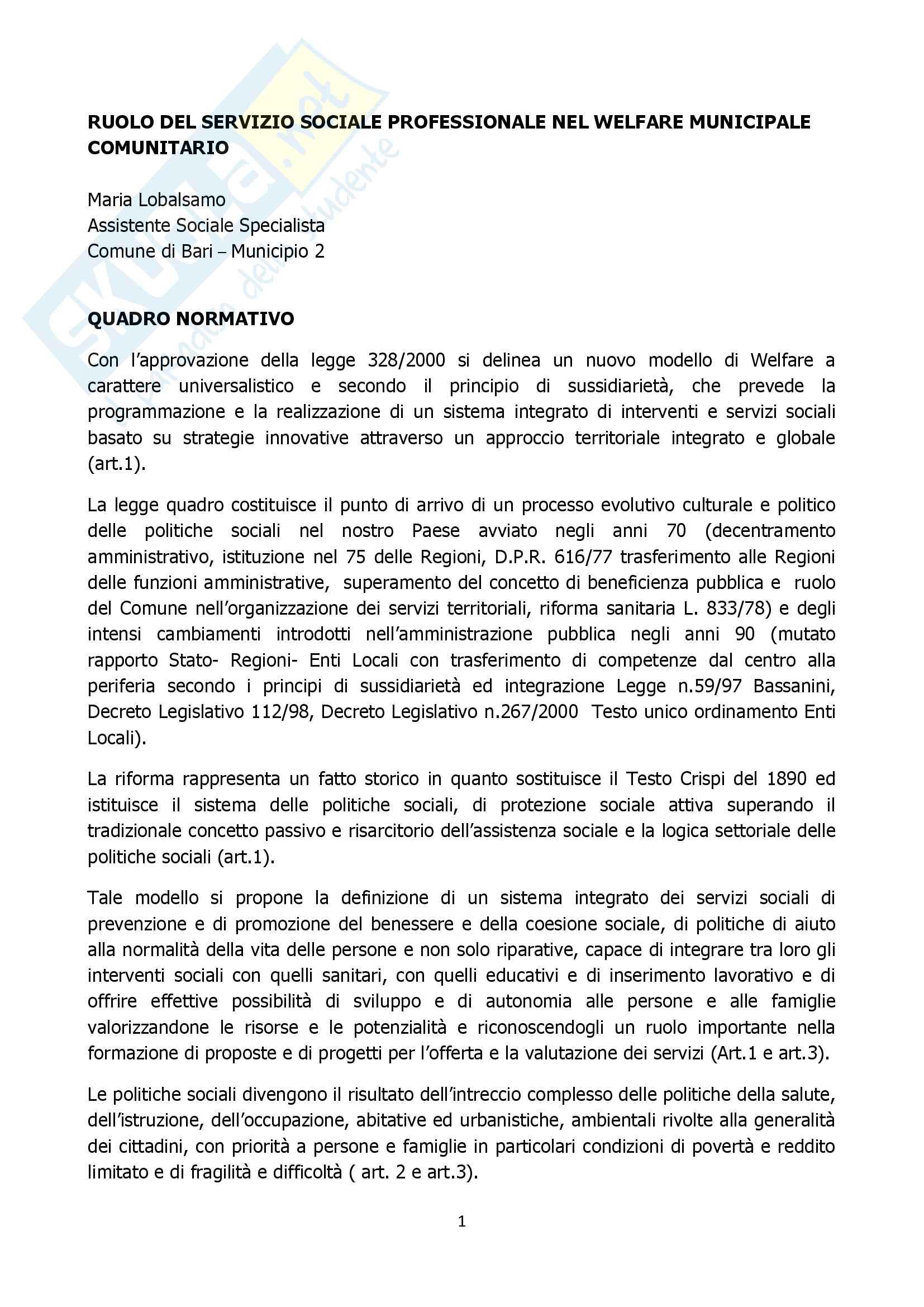 Relazione ruolo assistente sociale comune approfondimento