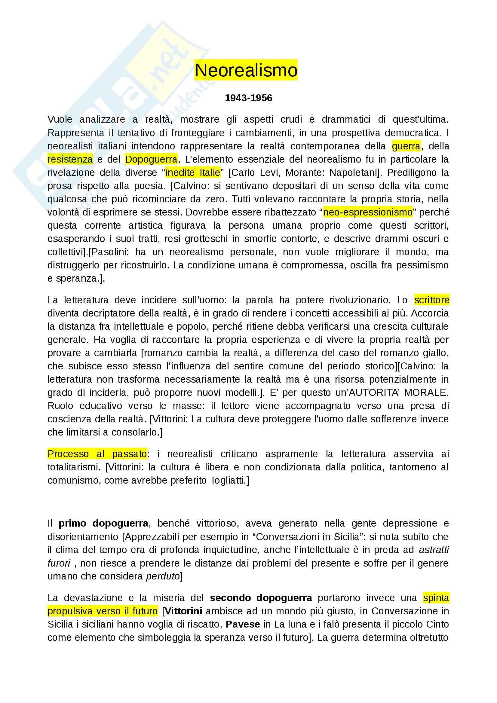 Riassunto esame Letteratura italiana, prof. Gallo