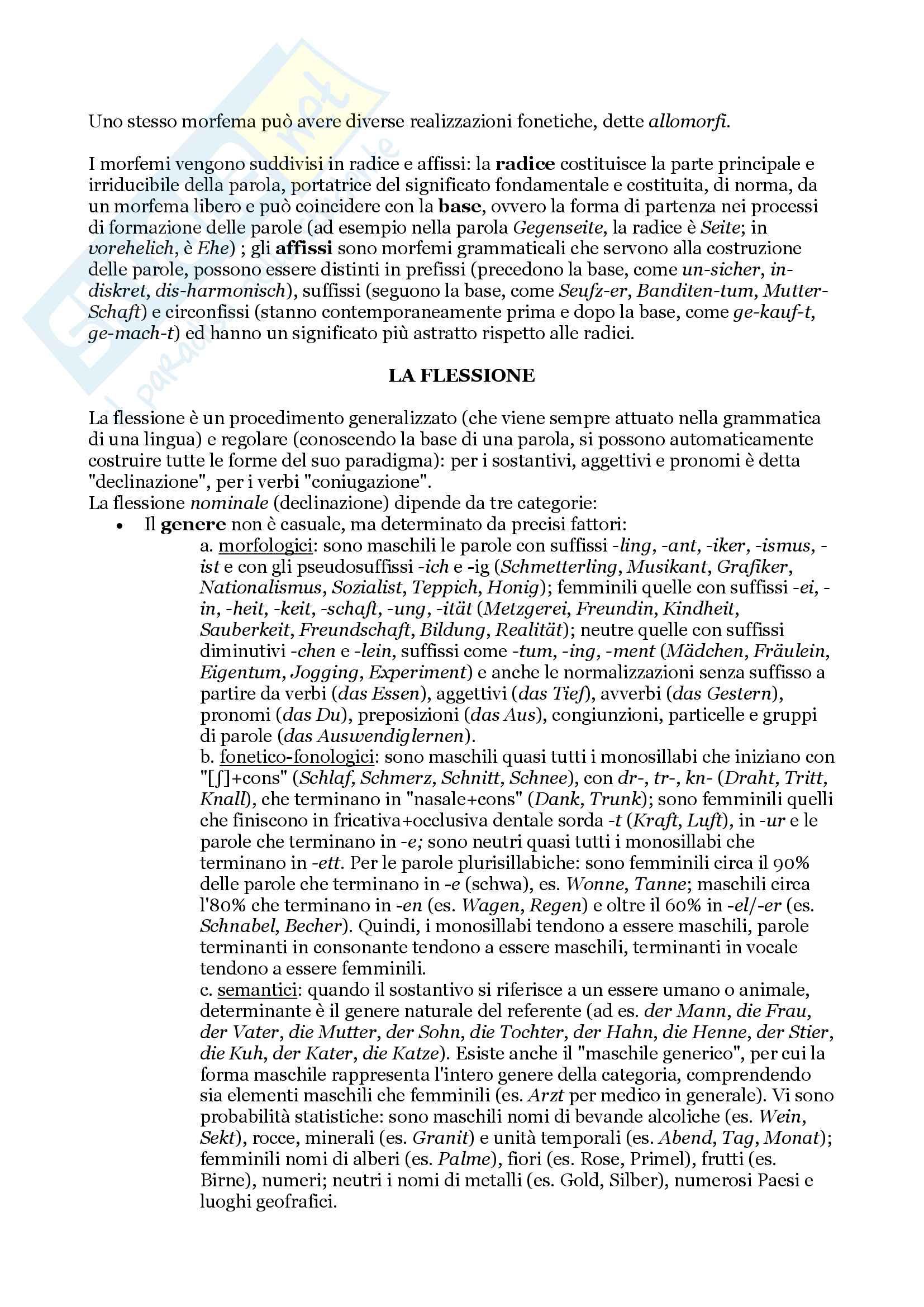 """Riassunto per l'esame di Lingua Tedesca I, prof. Di Meola, libro consigliato """"Linguistica Tedesca"""", cap. 1 e 2, Di Meola Pag. 6"""