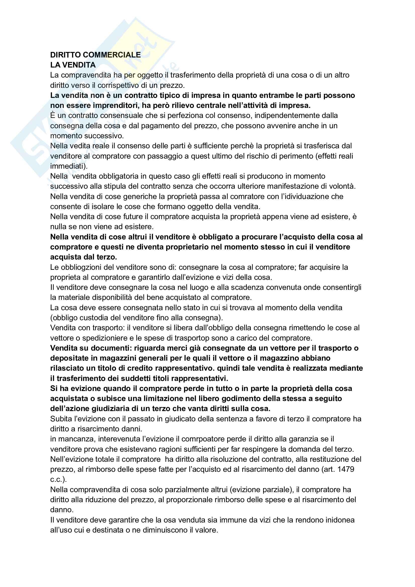 Diritto commerciale - Riassunto e Appunti