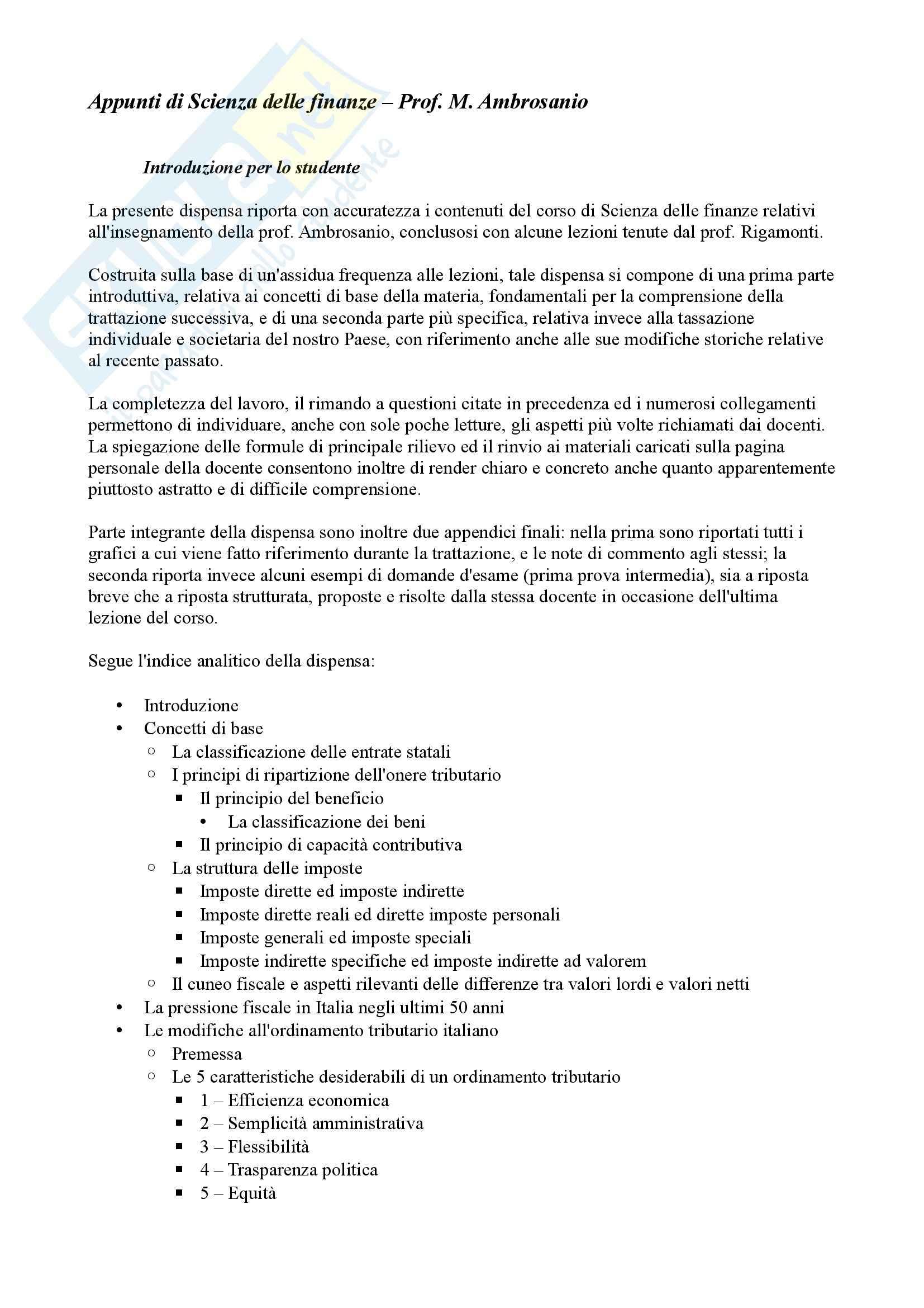 Appunti di Scienza delle finanze, Primo parziale
