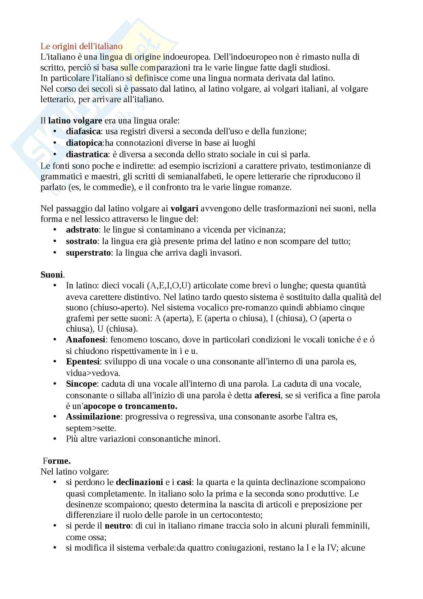 appunto A. Giammarco Linguistica italiana