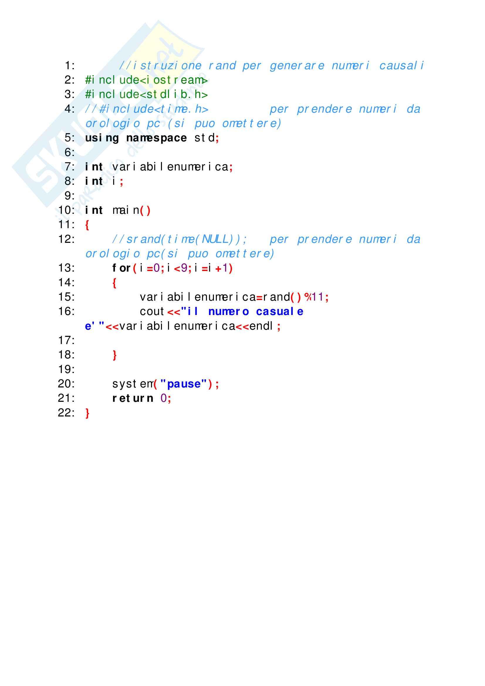Esercizi svolti di C++ perfettamente funzionanti, tutto ciò che serve per superare facilmente lo scritto di elementi di programmazione Pag. 11