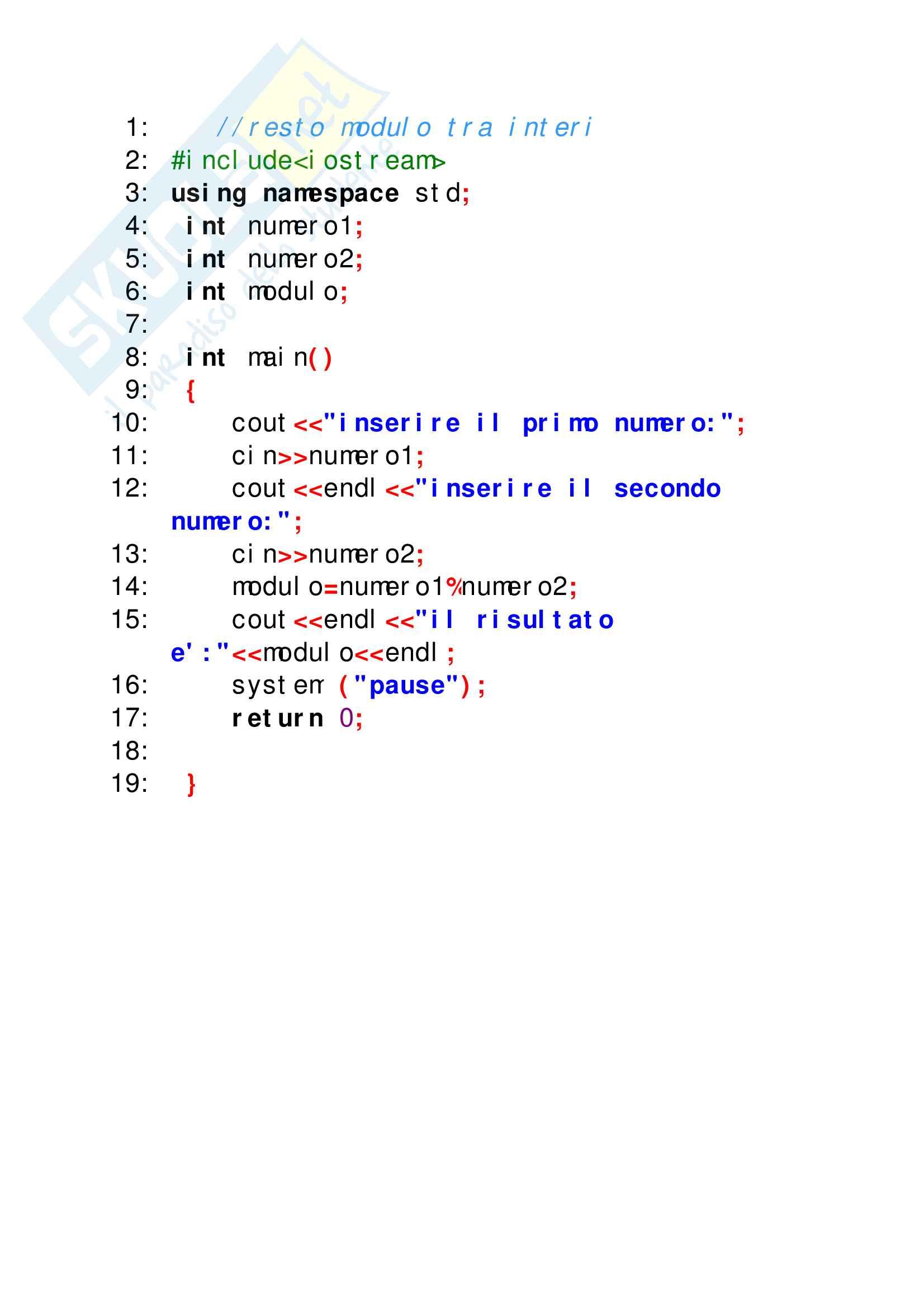 Esercizi svolti di C++ perfettamente funzionanti, tutto ciò che serve per superare facilmente lo scritto di elementi di programmazione Pag. 16