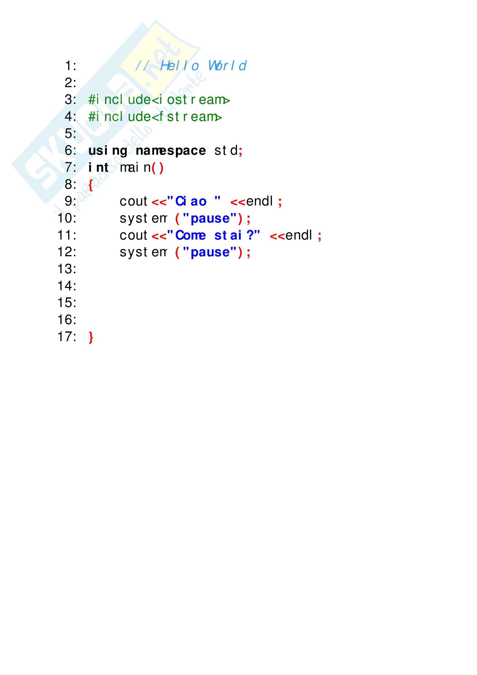 Esercizi svolti di C++ perfettamente funzionanti, tutto ciò che serve per superare facilmente lo scritto di elementi di programmazione Pag. 2