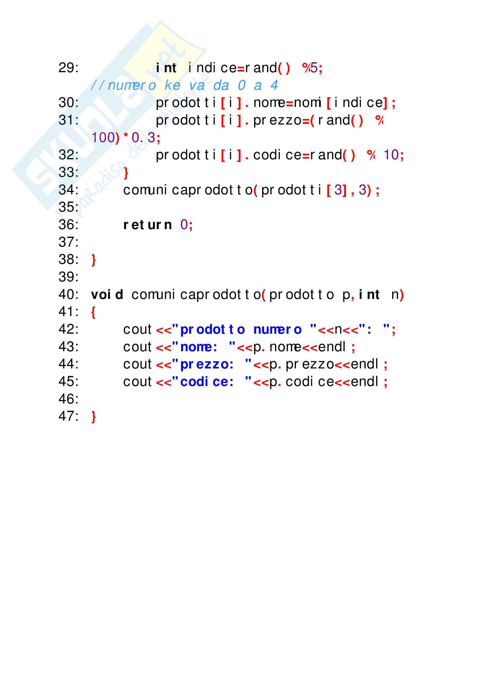 Esercizi svolti di C++ perfettamente funzionanti, tutto ciò che serve per superare facilmente lo scritto di elementi di programmazione Pag. 31