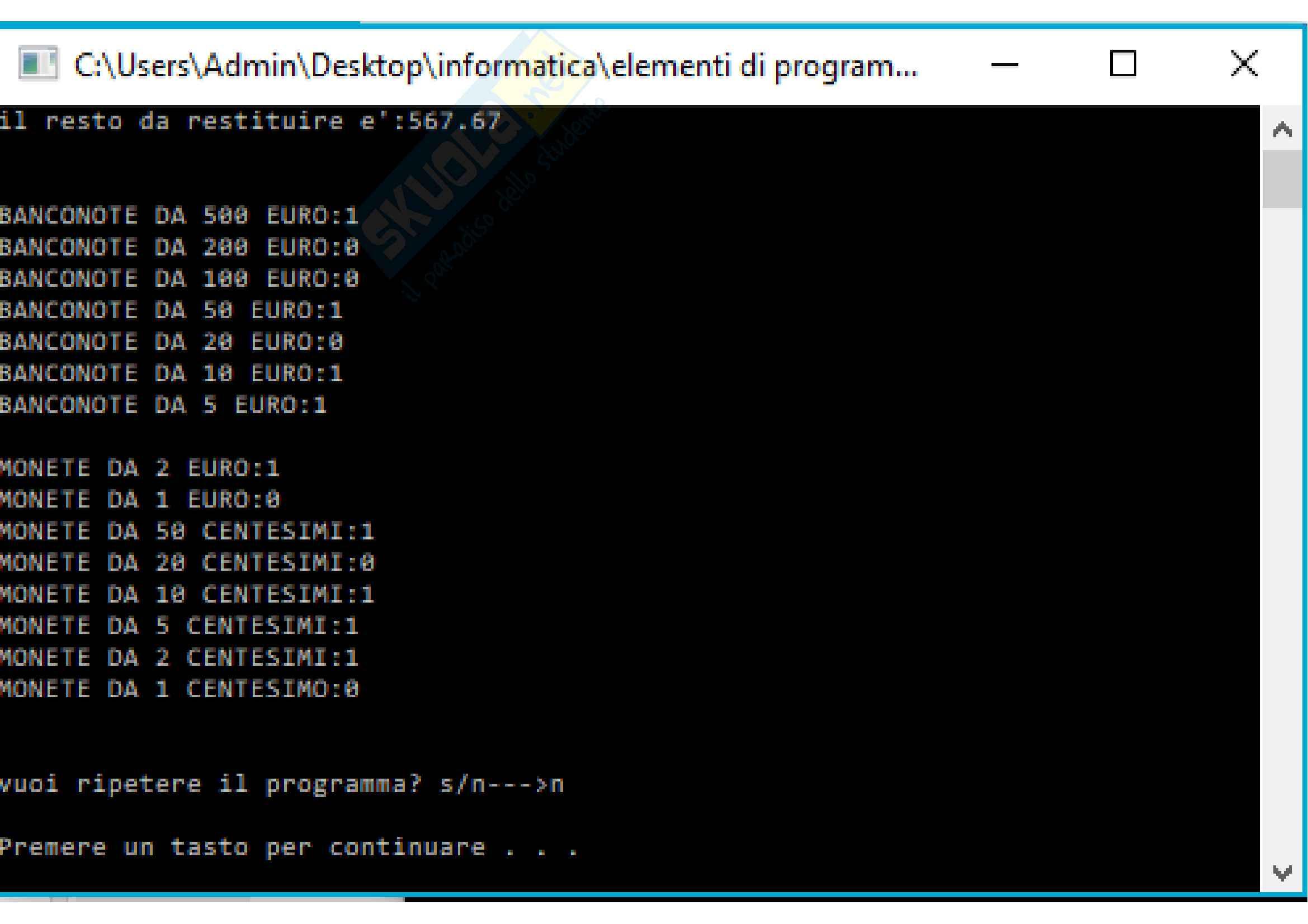 Esercizi svolti di C++ perfettamente funzionanti, tutto ciò che serve per superare facilmente lo scritto di elementi di programmazione Pag. 36
