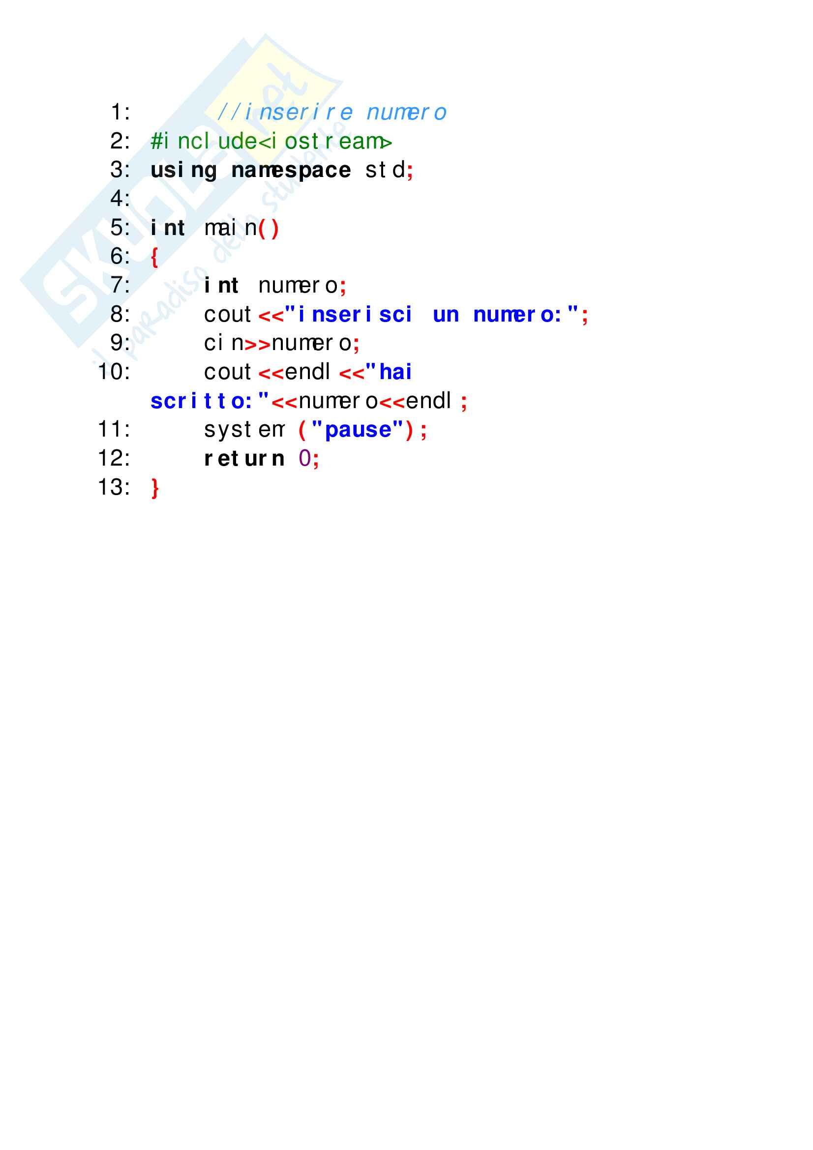 Esercizi svolti di C++ perfettamente funzionanti, tutto ciò che serve per superare facilmente lo scritto di elementi di programmazione Pag. 6