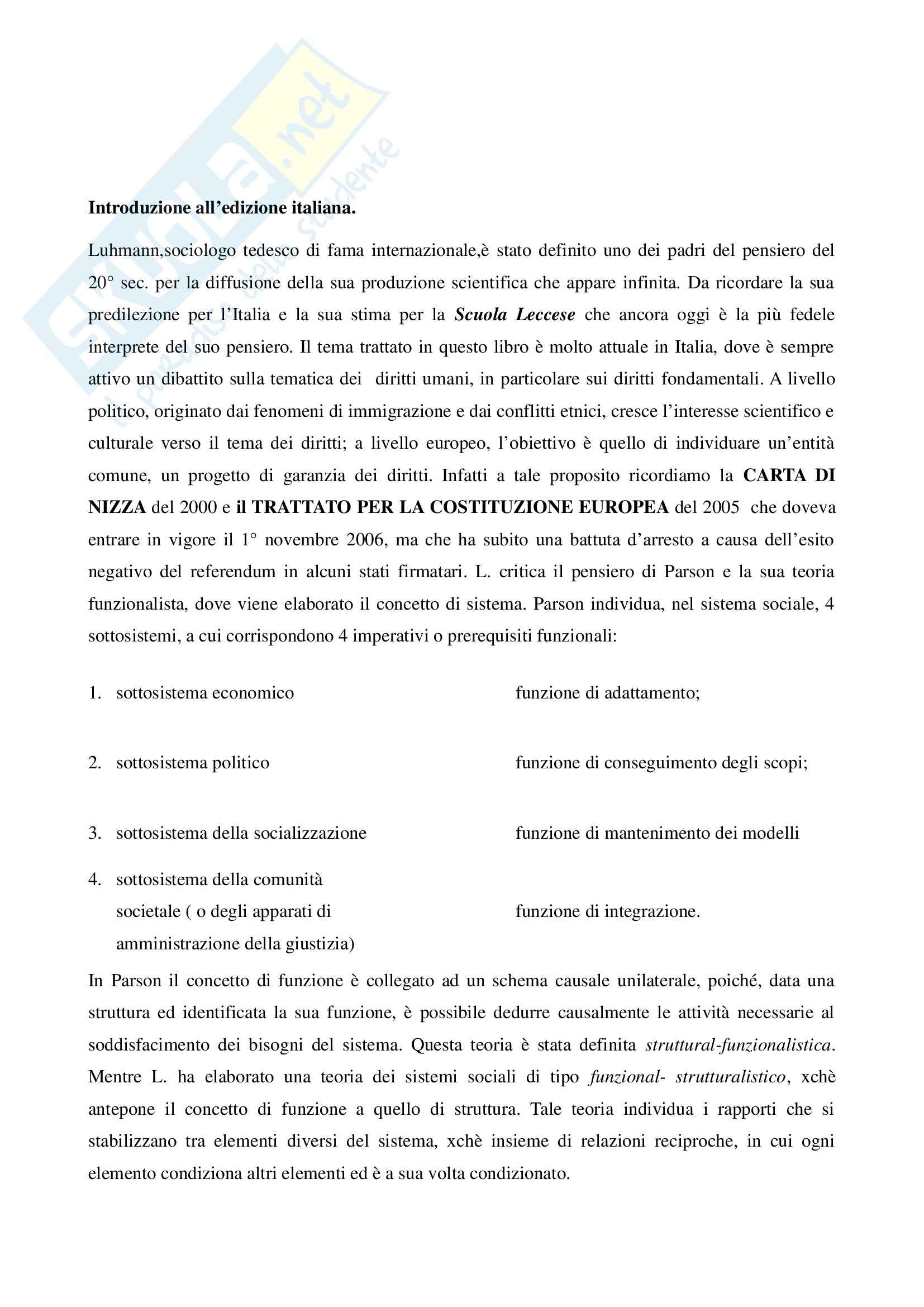 Riassunto esame Sociologia del Diritto, prof. Pannarale, libro consigliato I Diritti Fondamentali Come Istituzione, Luhmann