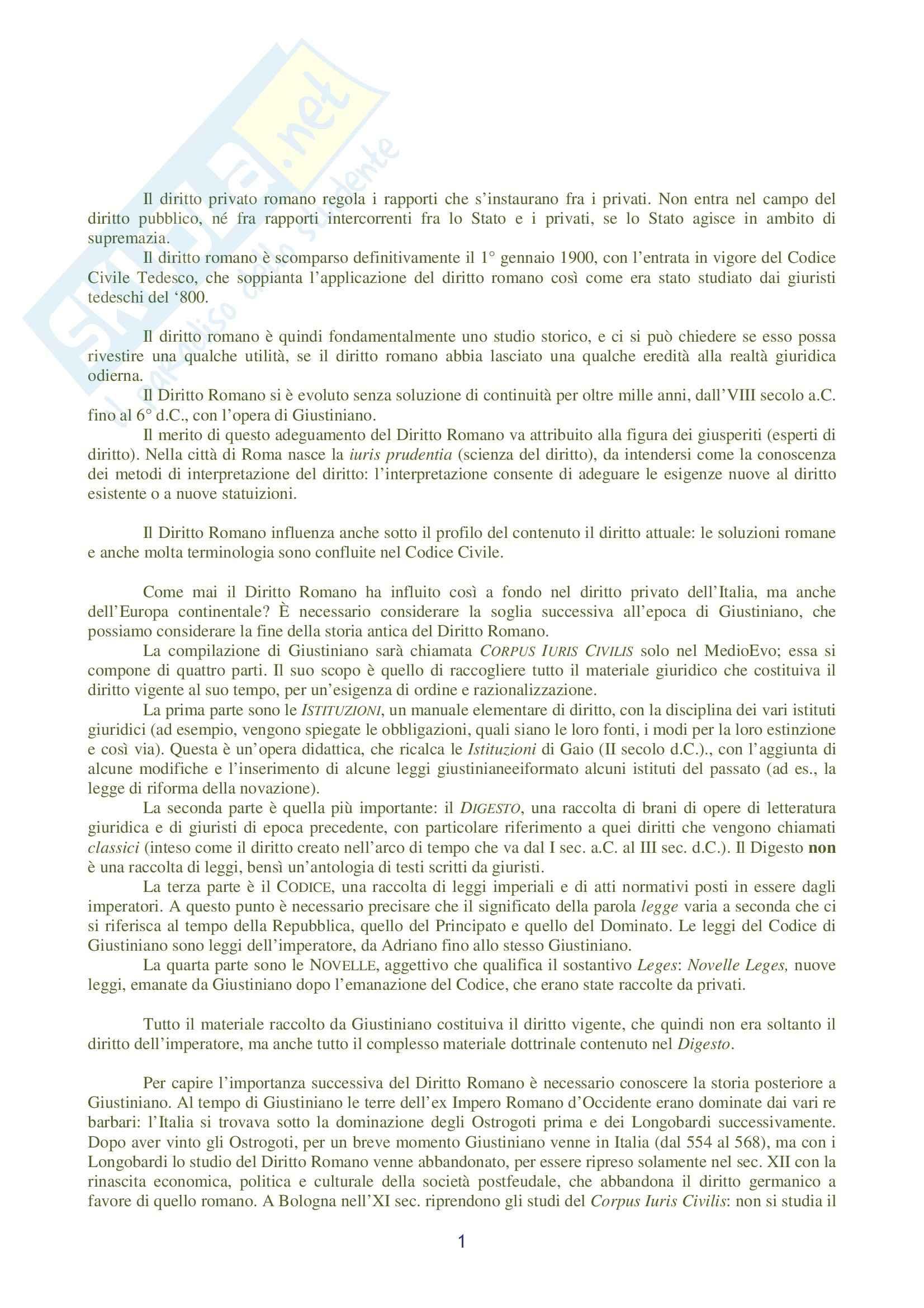 Riassunto esame Diritto Romano, prof. Ziliotto, libro consigliato Manuale di Diritto Privato Romano, Burdese