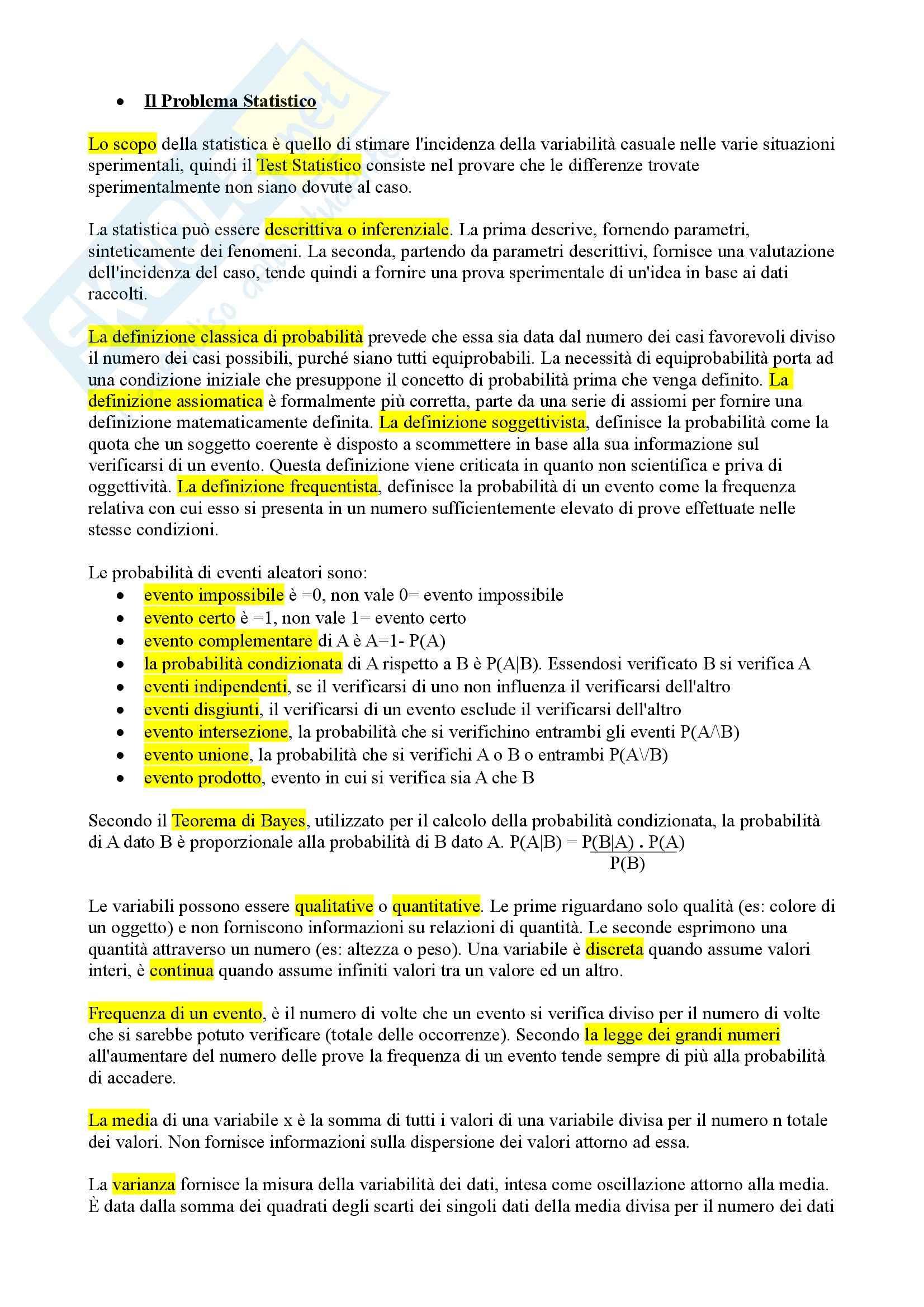 Lezioni, Statistica Psicometrica