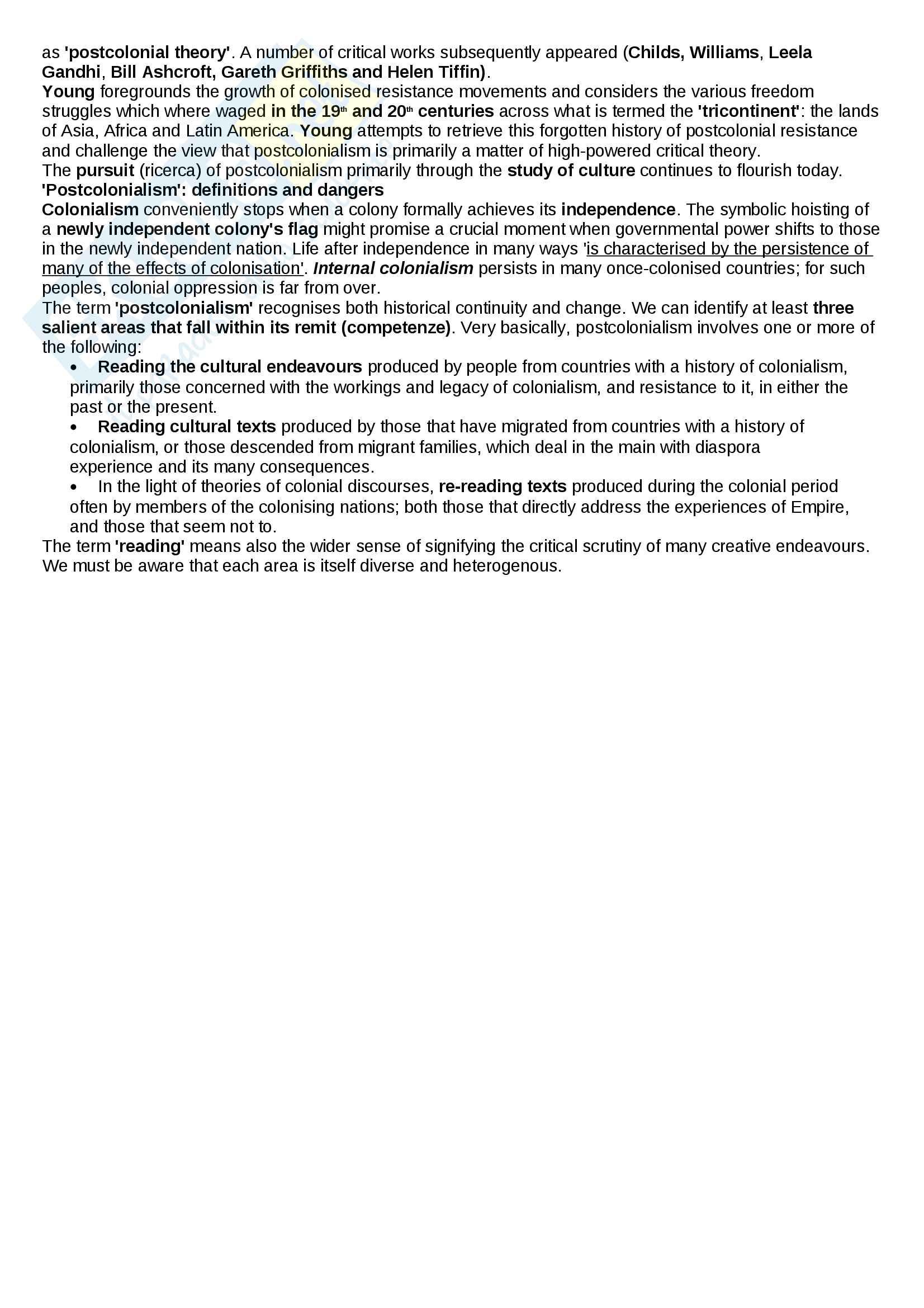 Riassunto esame Letteratura inglese, prof. Dolce, libro consigliato Beginning Postcolonialism, McLeod Pag. 6