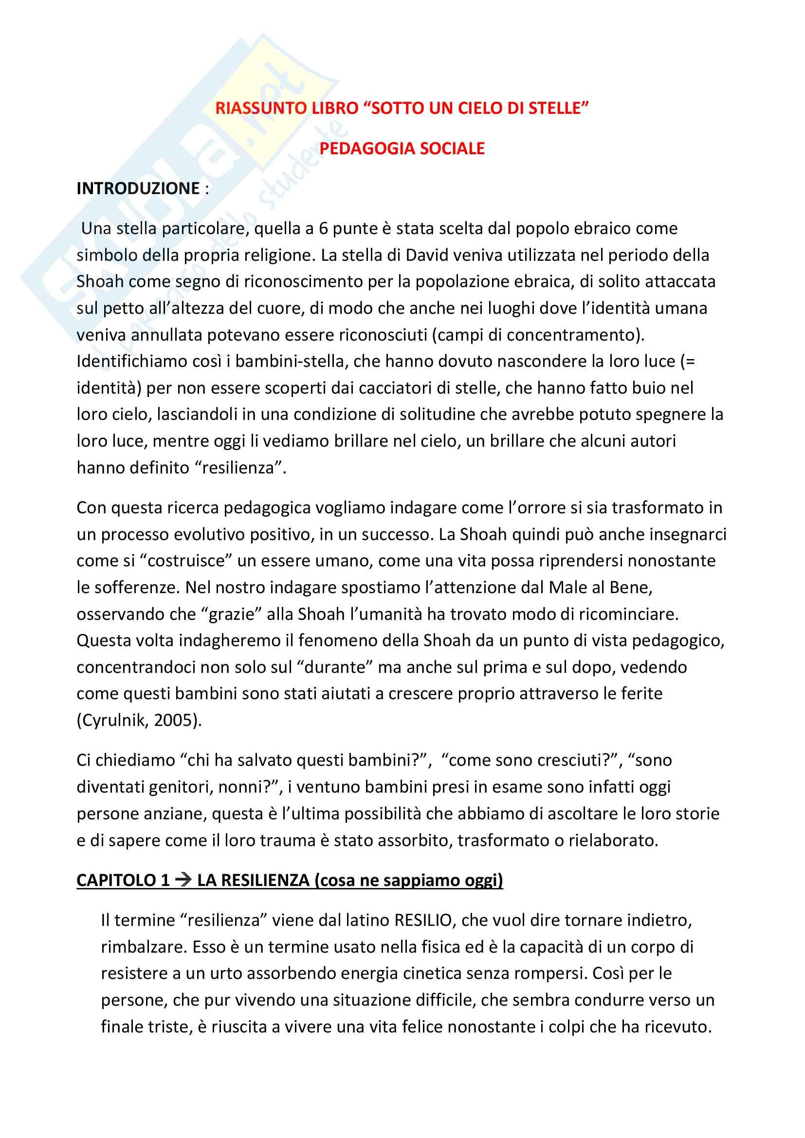 Riassunto esame di pedagogia sociale, prof.ssa Milani, libro consigliato Sotto un cielo di stelle, Milani, Ius