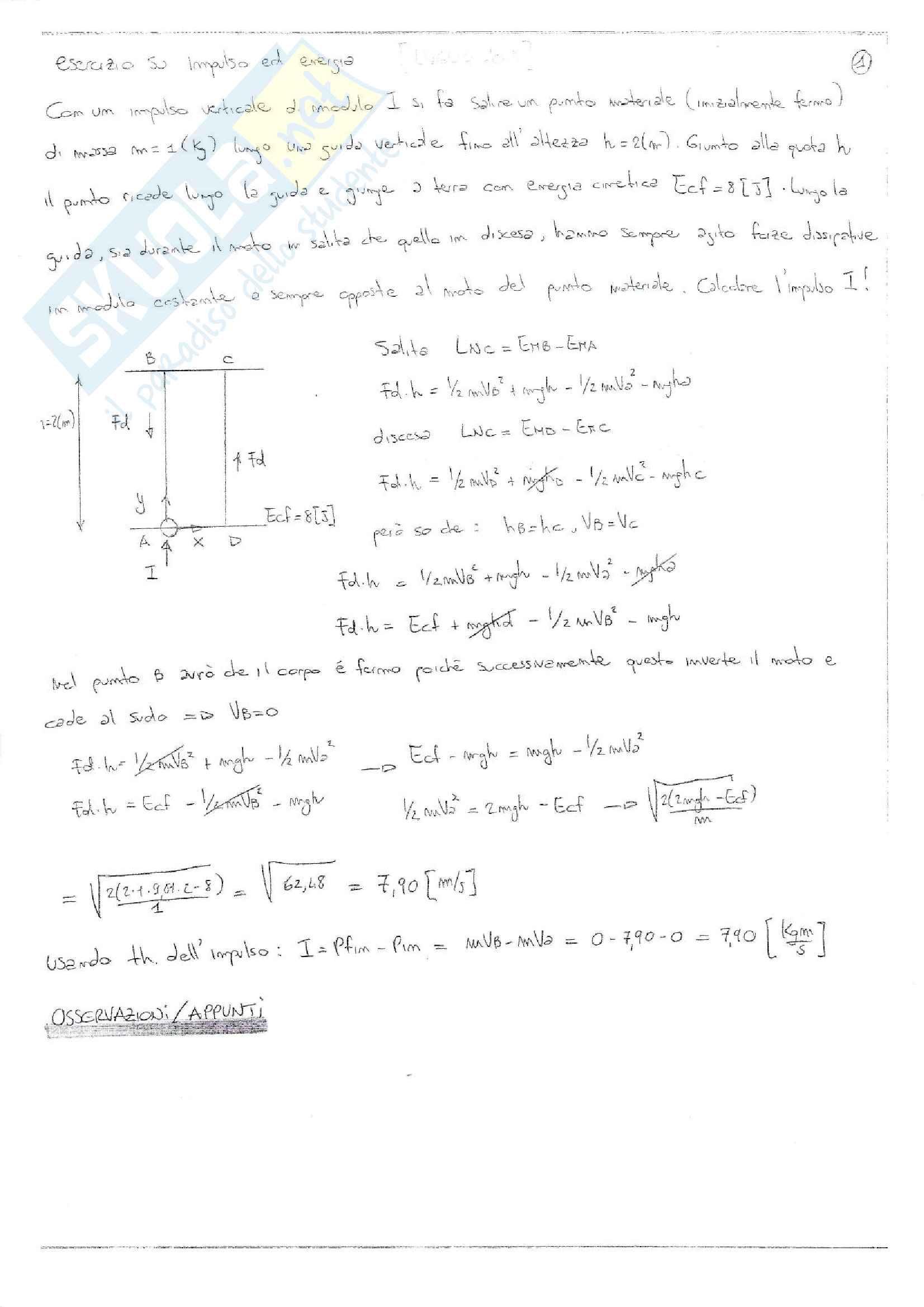Esercizi svolti esame Fisica 1, prof. Barucca, libri consigliati: Elementi di Fisica - Meccanica - Termodinamica, Mazzoldi - Nigro - Voci; Fisica 1, Vannini - Gettys; Fisica - Volume 1, Mazzoldi - Nigro - Voci; Fisica Generale: Meccanica e Termodinamica