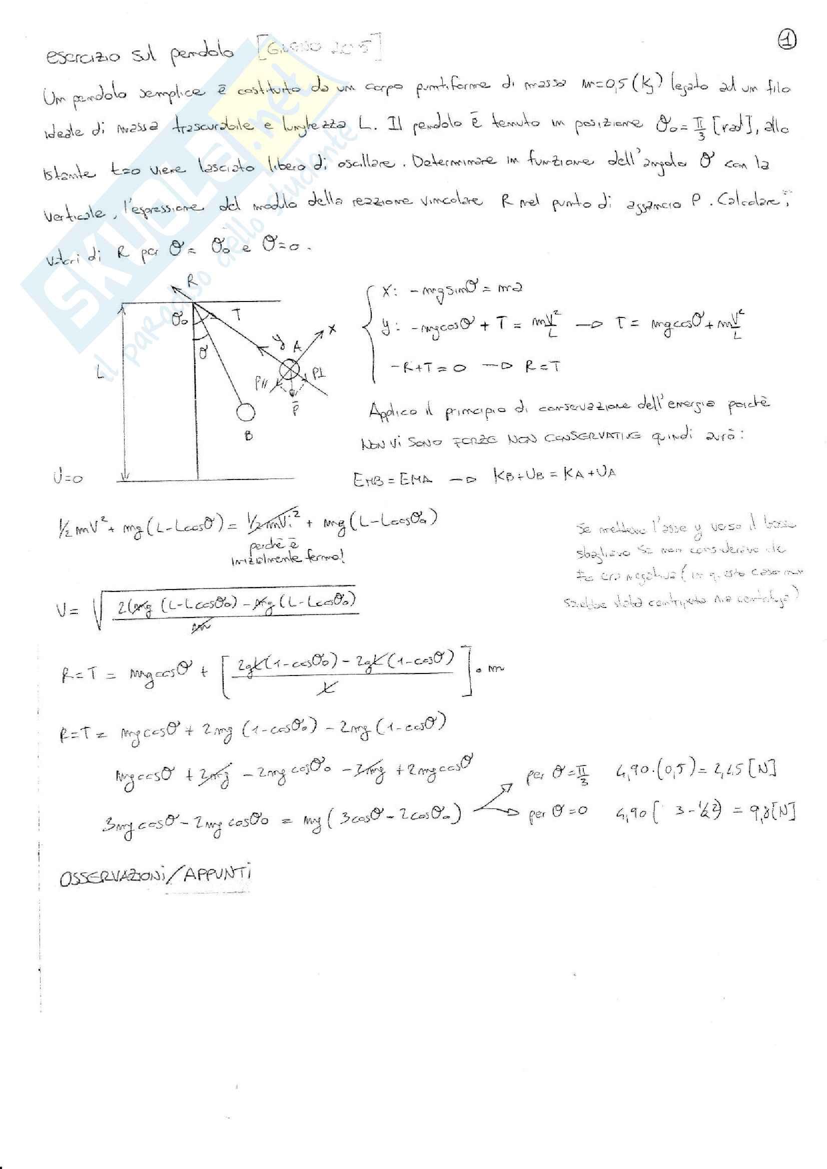 Esercizi svolti esame Fisica 1, prof. Barucca, libri consigliati: Elementi di Fisica - Meccanica - Termodinamica, Mazzoldi - Nigro - Voci; Fisica 1, Vannini - Gettys; Fisica - Volume 1, Mazzoldi - Nigro - Voci; Fisica Generale: Meccanica e Termodinamica Pag. 2