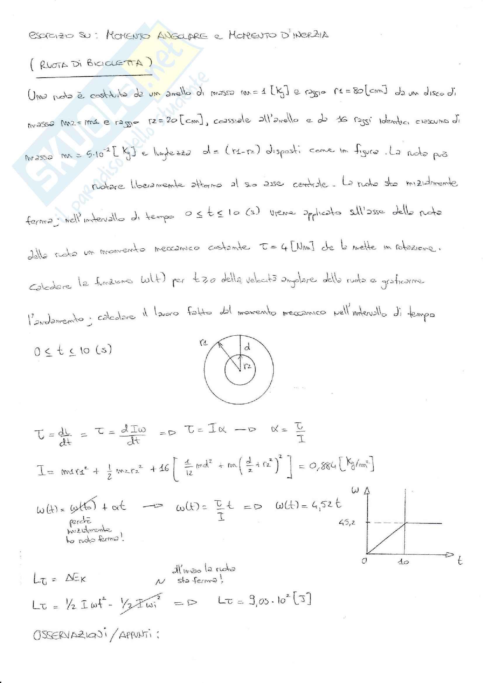 Esercizi svolti esame Fisica 1, prof. Barucca, libri consigliati: Elementi di Fisica - Meccanica - Termodinamica, Mazzoldi - Nigro - Voci; Fisica 1, Vannini - Gettys; Fisica - Volume 1, Mazzoldi - Nigro - Voci; Fisica Generale: Meccanica e Termodinamica Pag. 6