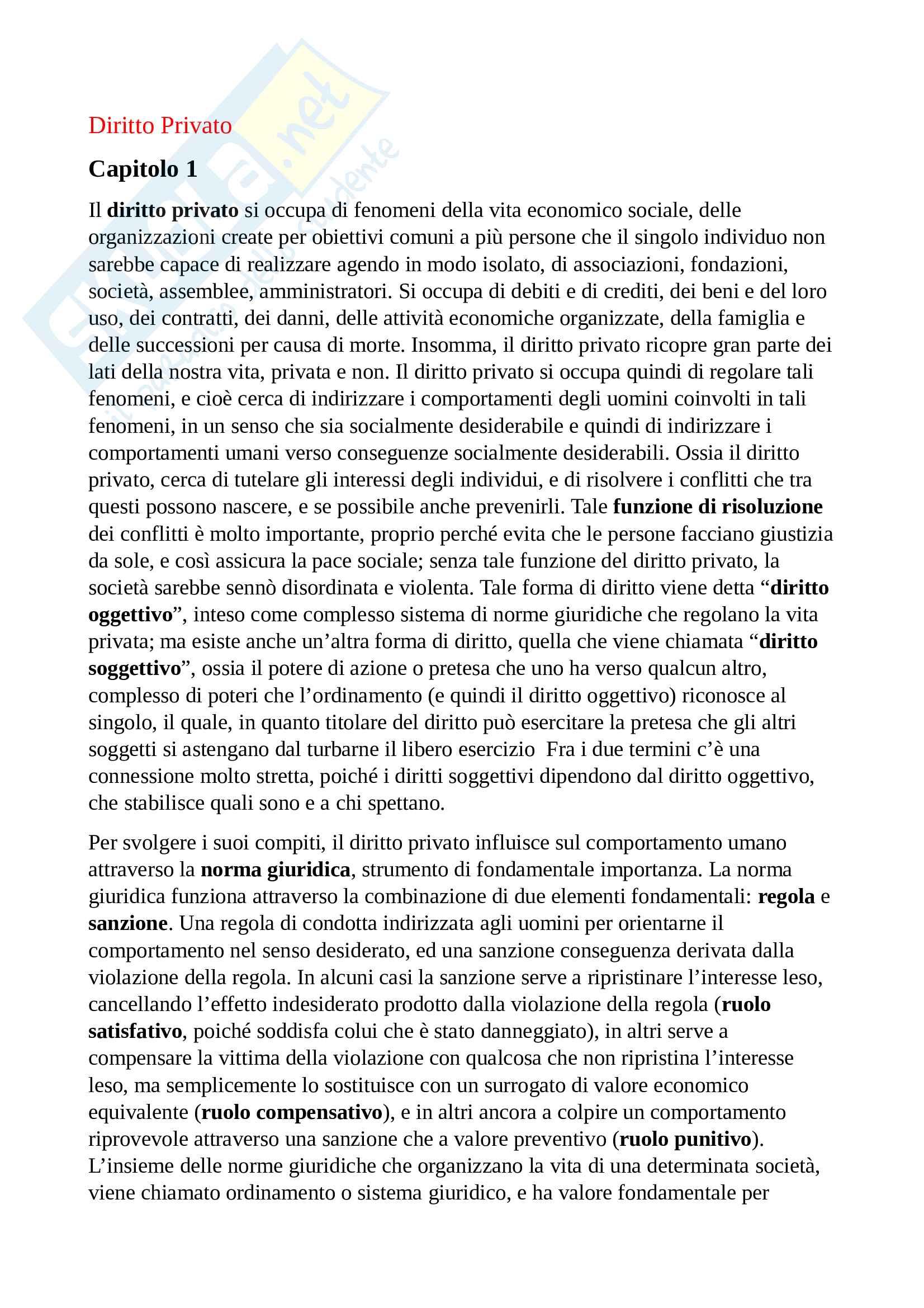 Riassunto esame diritto privato, prof. Bargelli, libro consigliato Diritto Privato - Linee essenziali, Roppo
