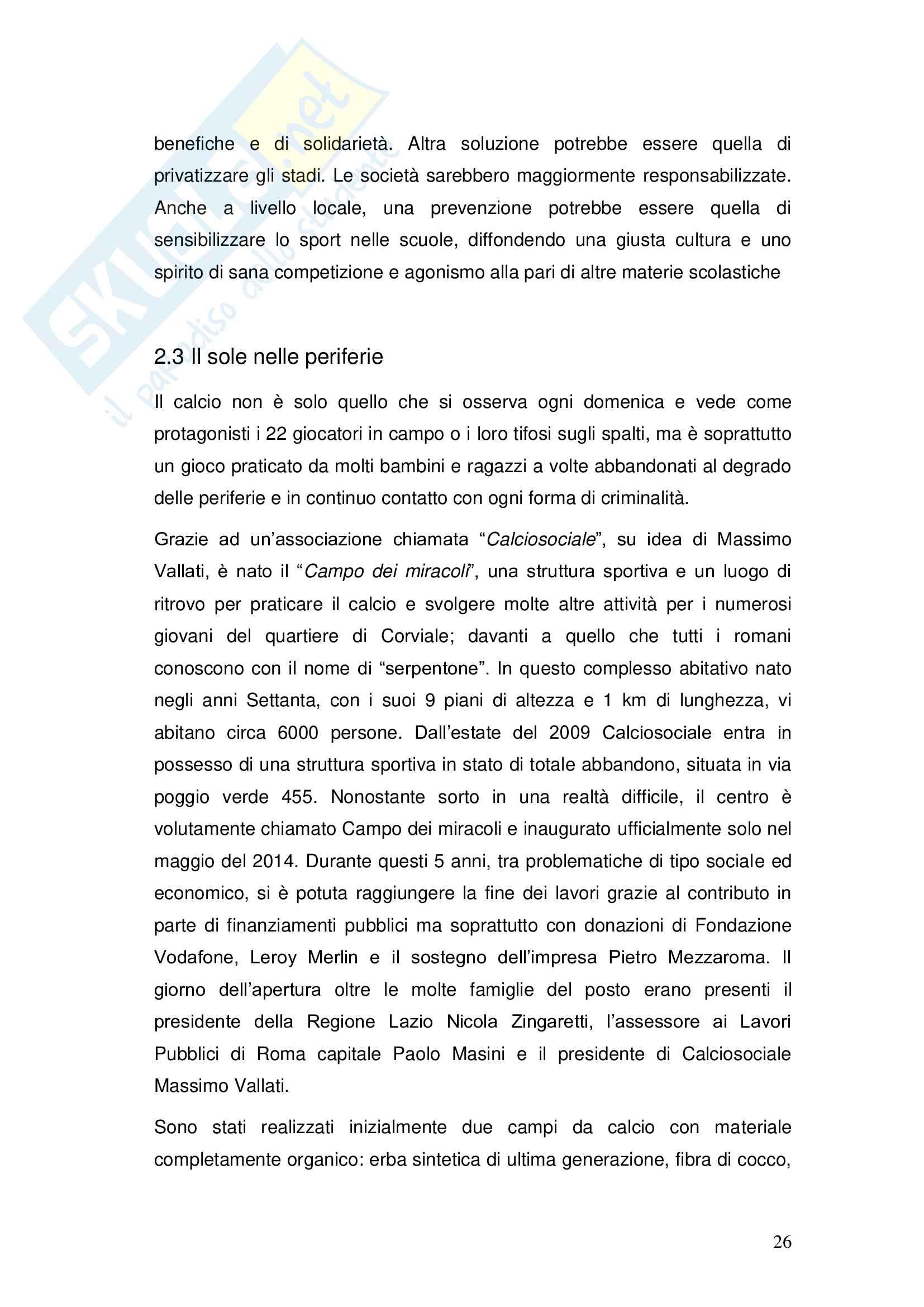 Il ruolo sociale del calcio Pag. 26