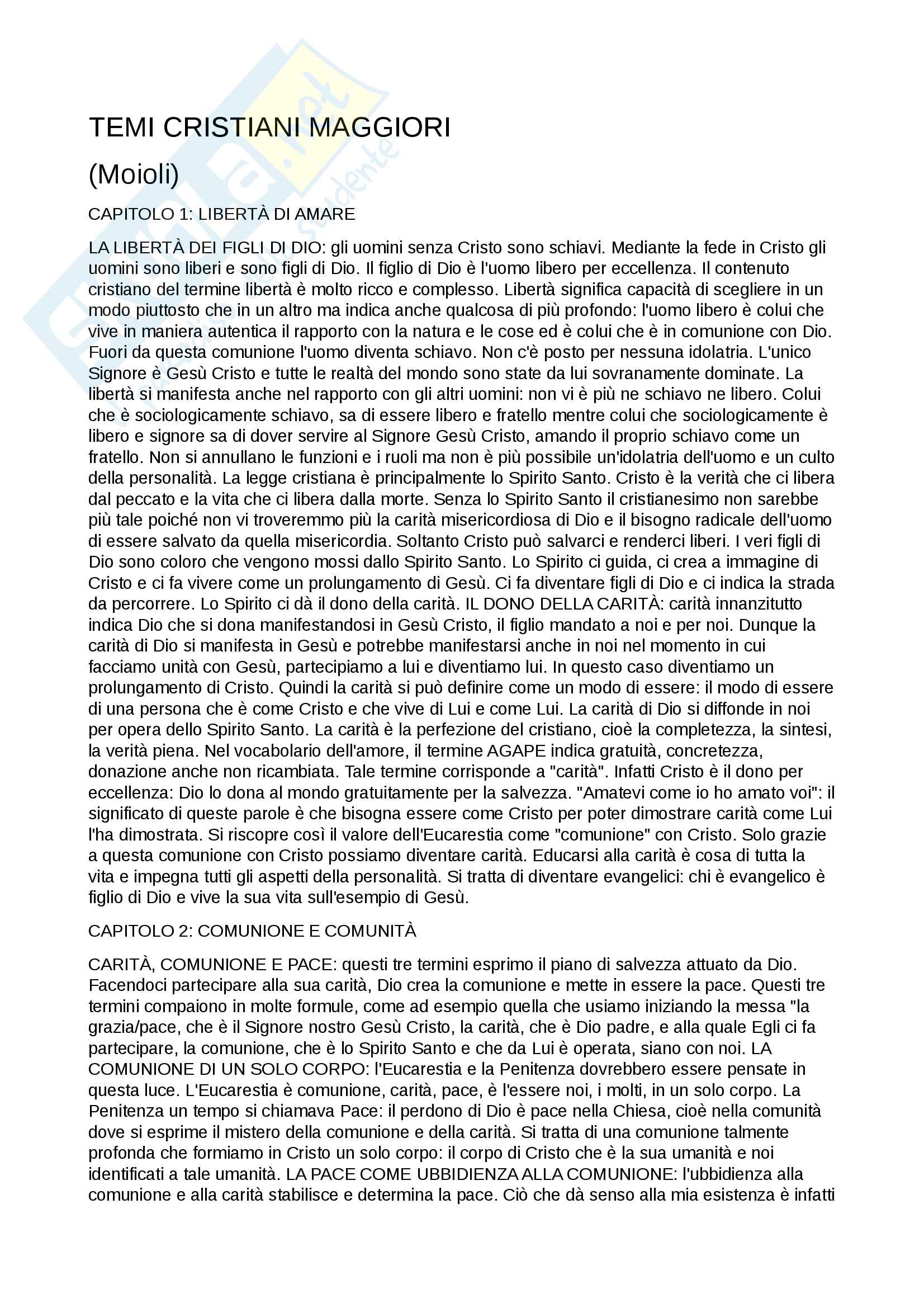 """Riassunto esame di teologia II, prof. Claudio Stercal, libro consigliato """"Temi Cristiani Maggiori"""", 1992, G.Moioli"""