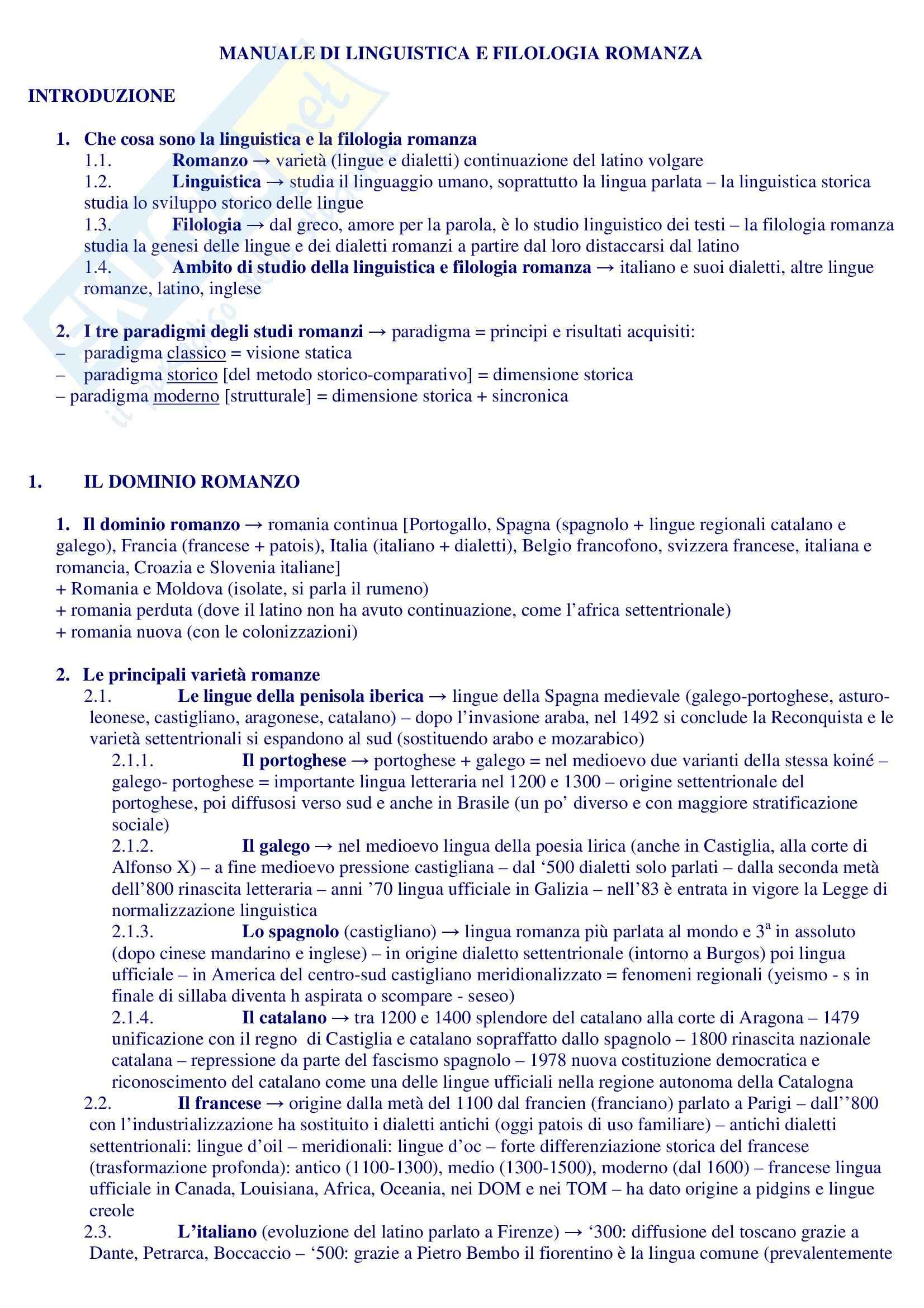 Riassunto esame Filologia Romanza, prof. Sacchi, libro consigliato Manuale di Linguistica e Filologia Romanza, Renzi, Andreose