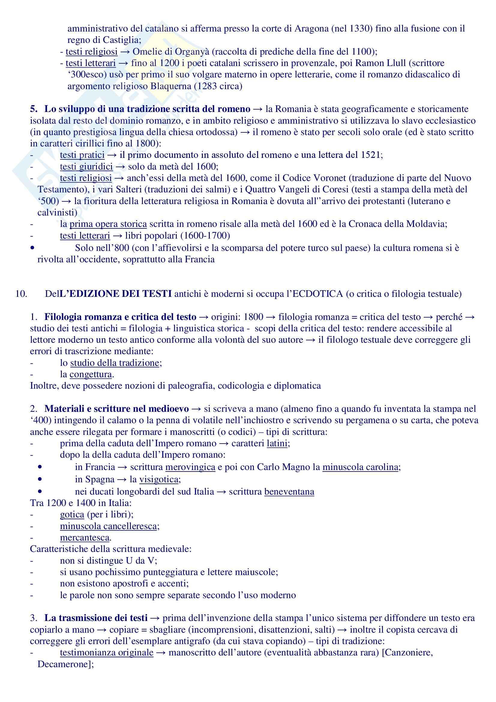 Riassunto esame Filologia Romanza, prof. Sacchi, libro consigliato Manuale di Linguistica e Filologia Romanza, Renzi, Andreose Pag. 16