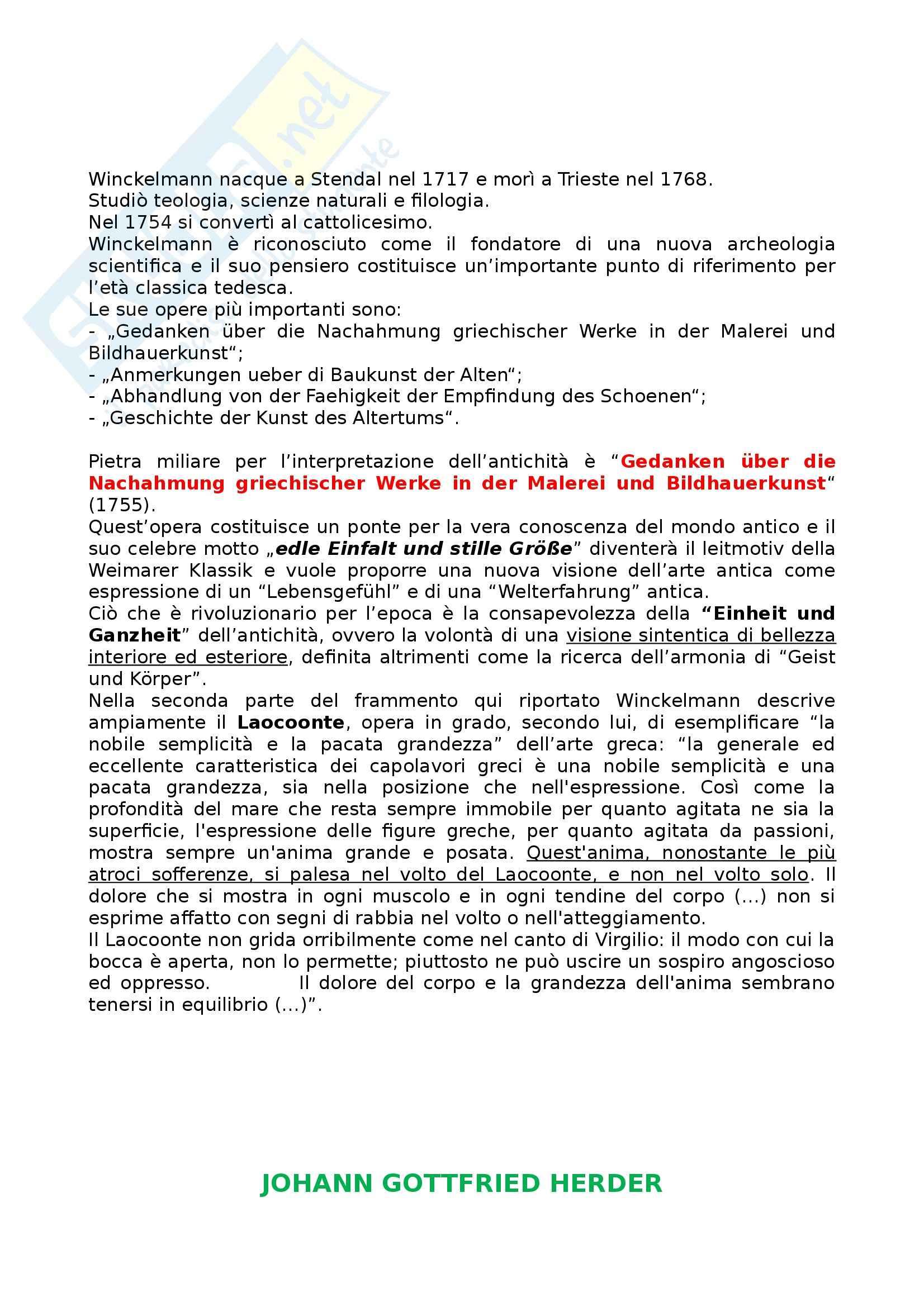 Riassunto esame Letteratura Tedesca, prof. Frola, libro consigliato Die Deutsche Literatur in Text und Darstellung, Winckelmann