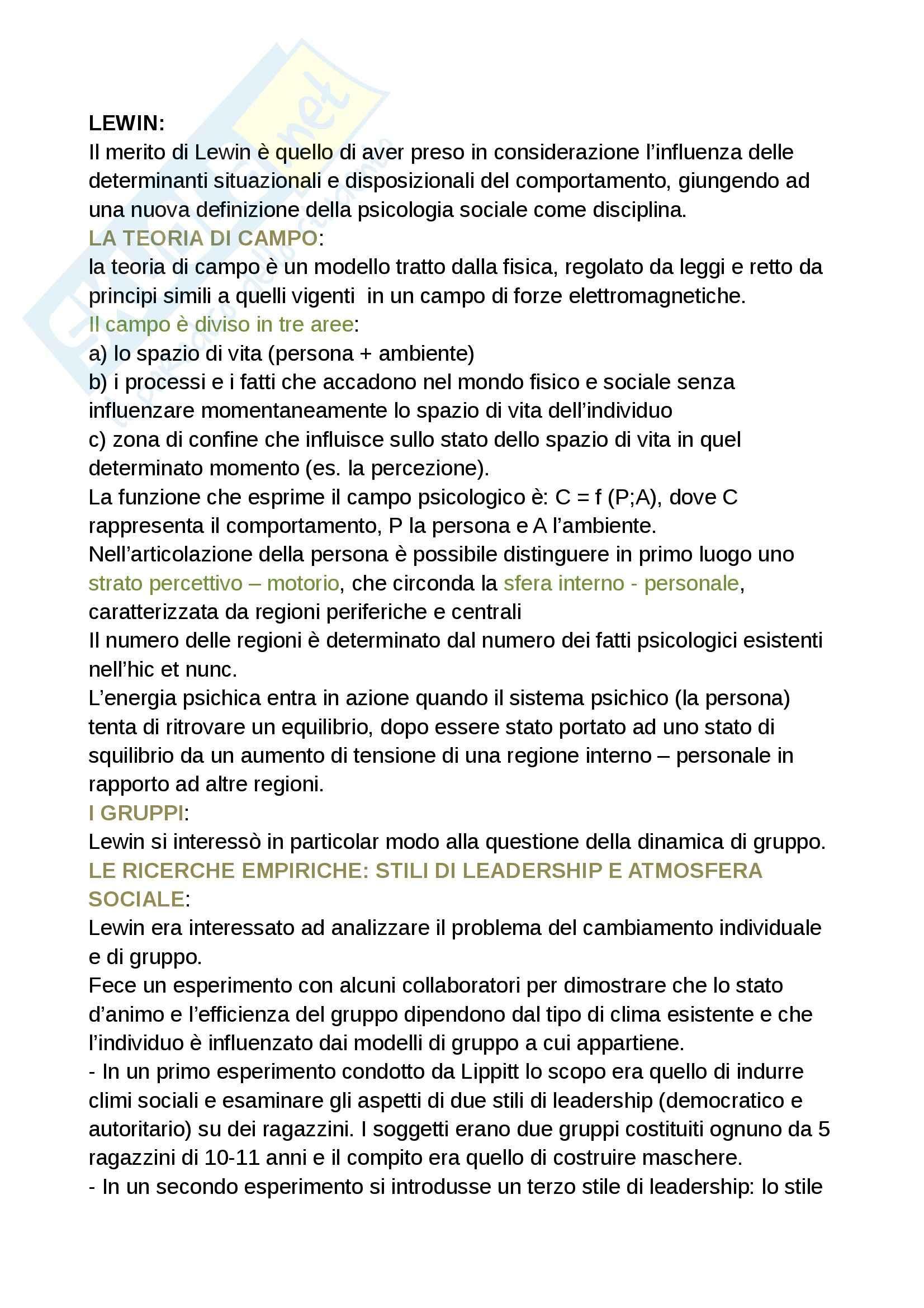 Riassunto esame Psicologia sociale, prof. Camussi, Ricerche e protagonisti della psicologia sociale, Lewin, Palmonari