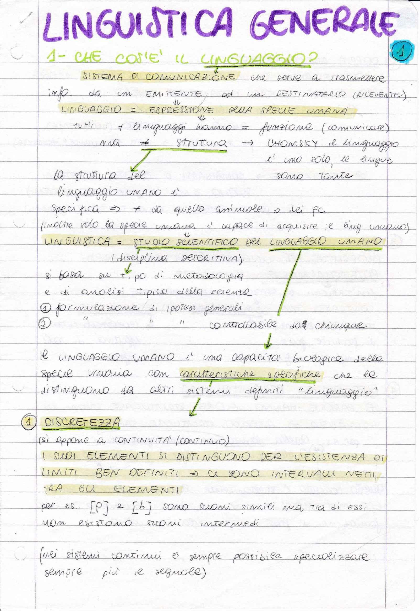 Riassunto esame Linguistica generale, prof. Graffi, libro consigliato Le lingue e il linguaggio, Graffi Scalise
