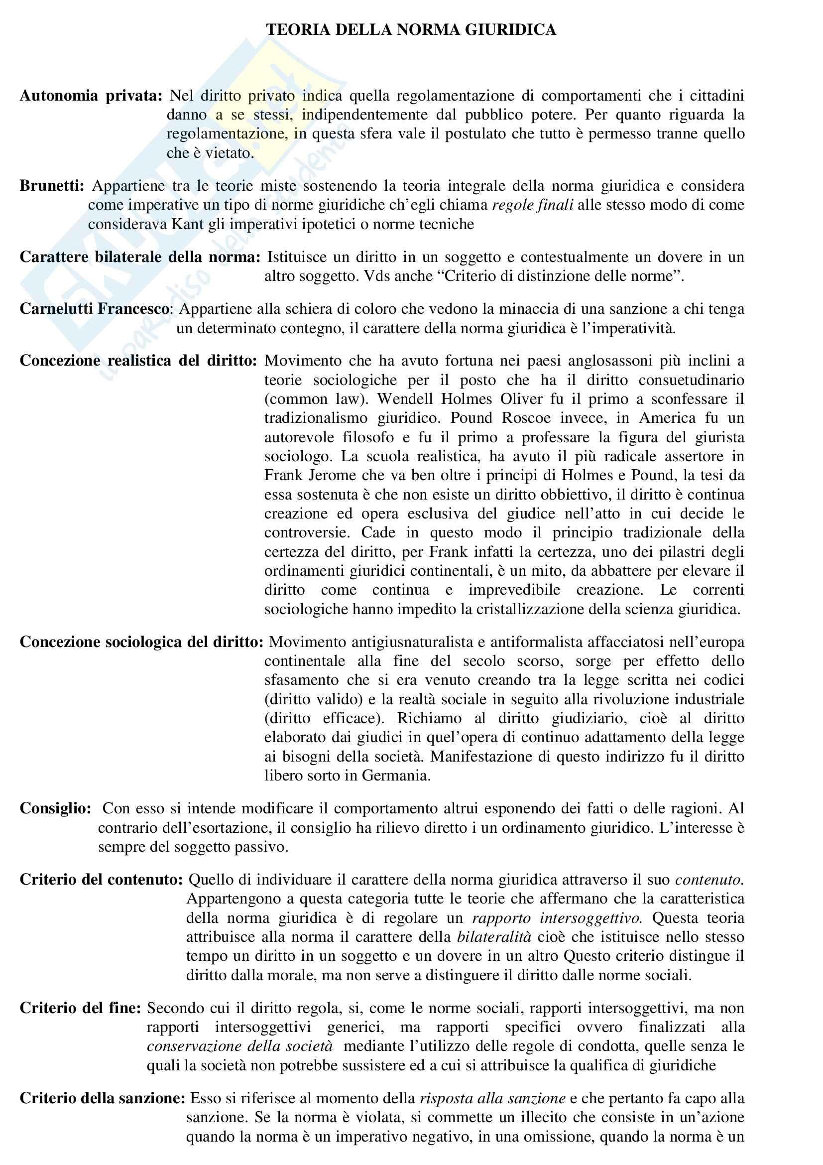 Teoria generale del diritto - Glossario