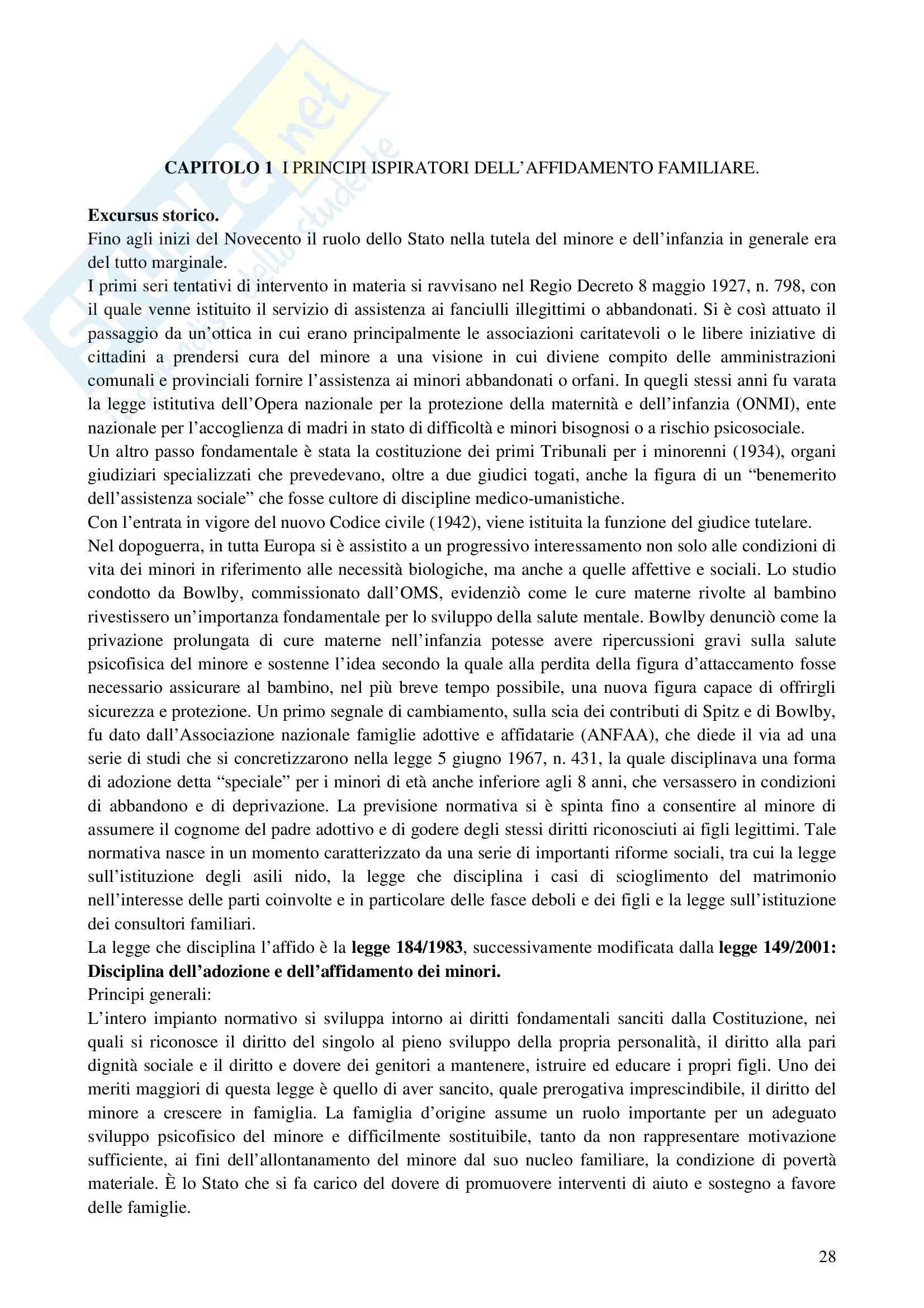 Riassunto esame Interventi a Sostegno della Genitorialità, prof. Cassibba, libro consigliato L'Affidamento Familiare