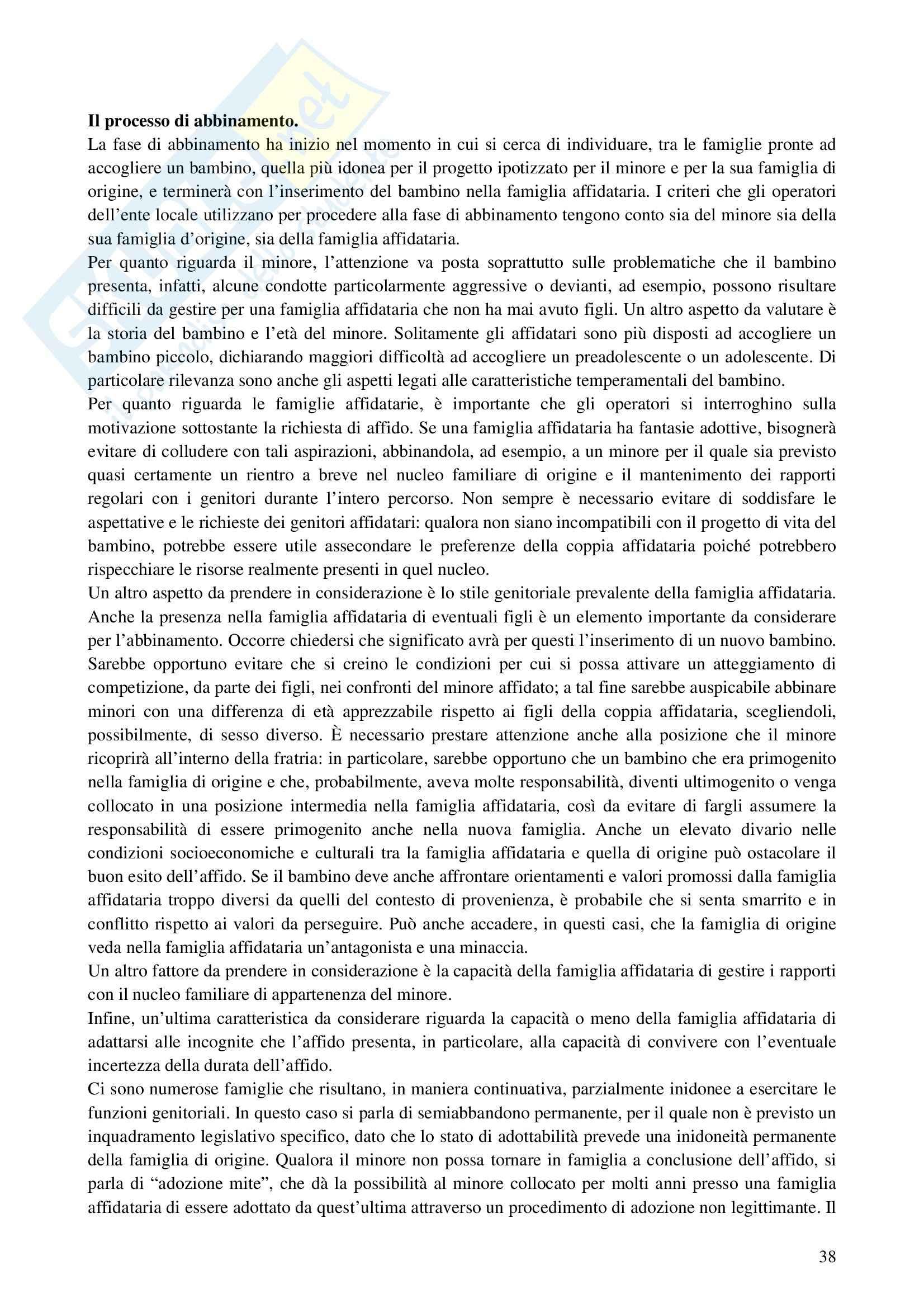 Riassunto esame Interventi a Sostegno della Genitorialità, prof. Cassibba, libro consigliato L'Affidamento Familiare Pag. 11
