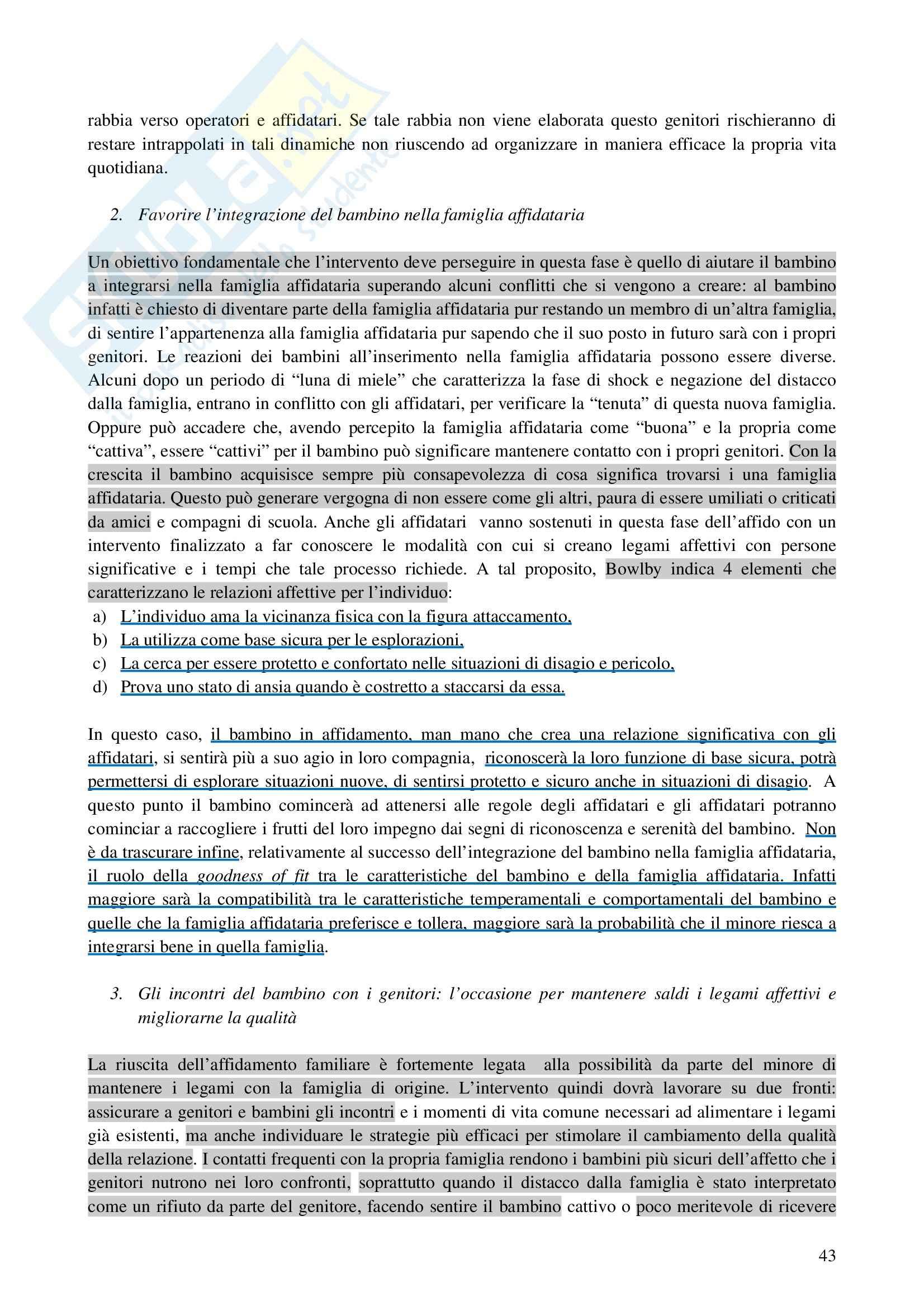 Riassunto esame Interventi a Sostegno della Genitorialità, prof. Cassibba, libro consigliato L'Affidamento Familiare Pag. 16