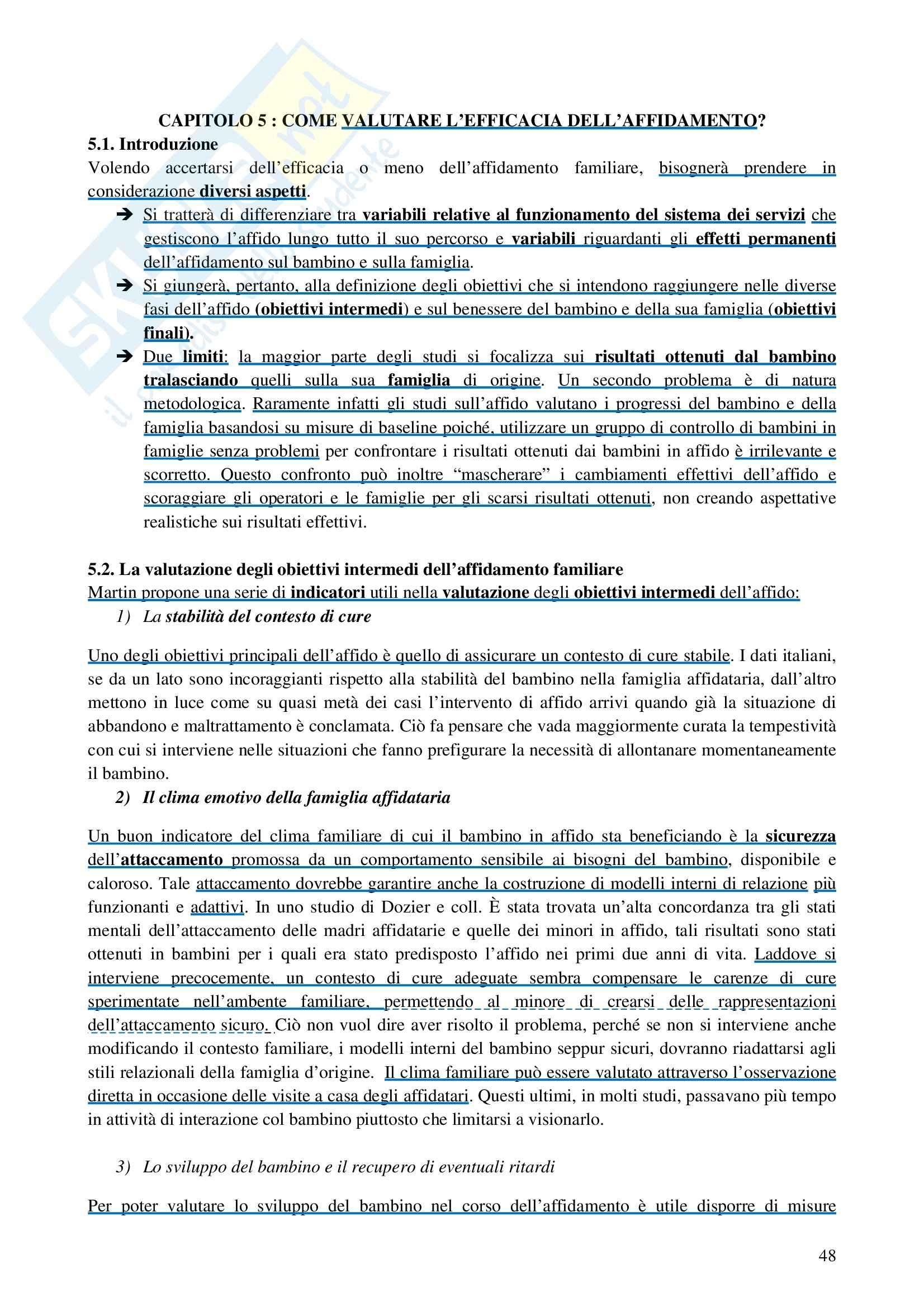 Riassunto esame Interventi a Sostegno della Genitorialità, prof. Cassibba, libro consigliato L'Affidamento Familiare Pag. 21