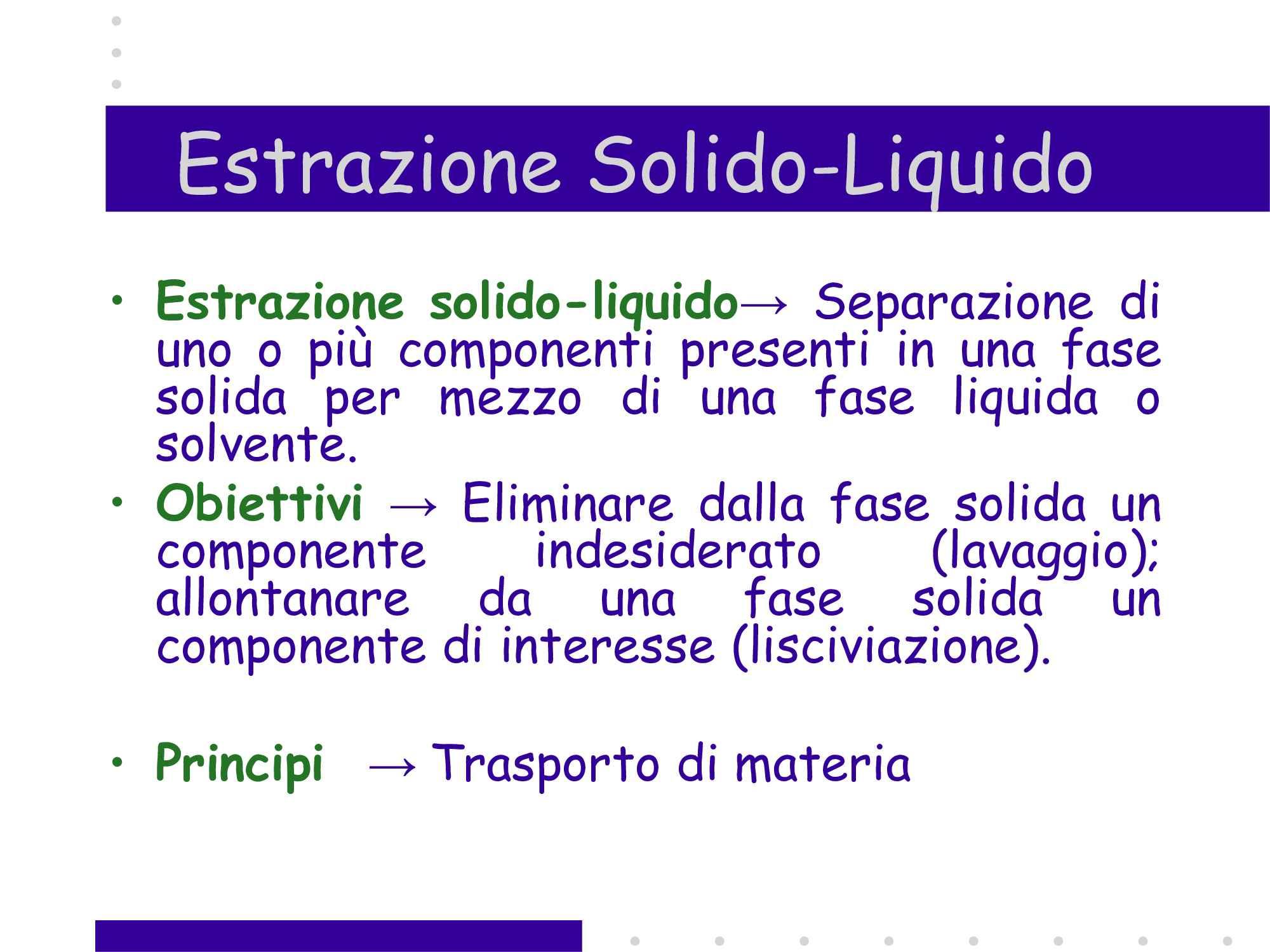 Estrazione Solido Liquido