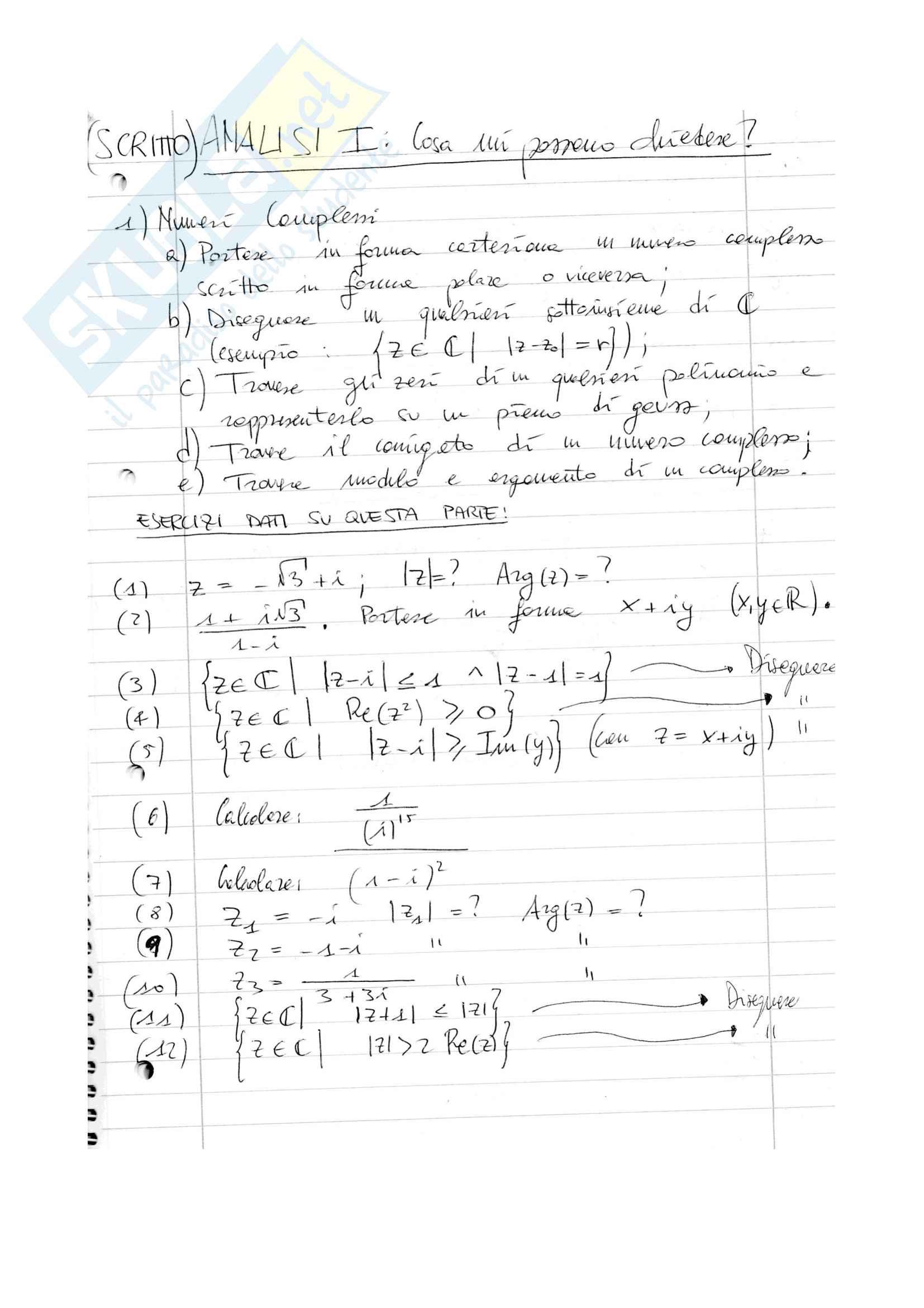 Riassunti analisi 1 e formule notevoli