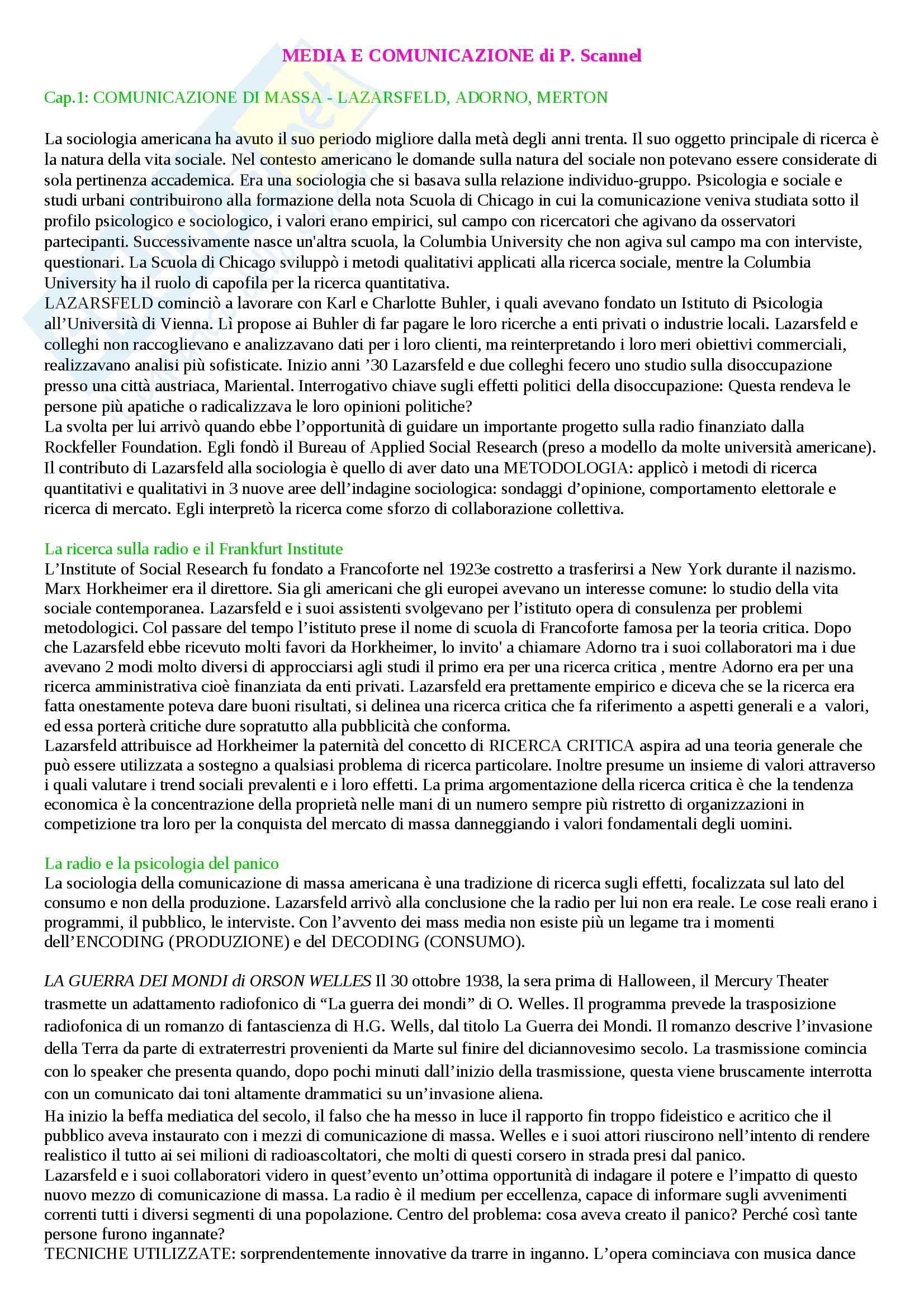 Riassunto esame Sociologia, prof. Porcelli, libro consigliato Media e comunicazione, Scannel