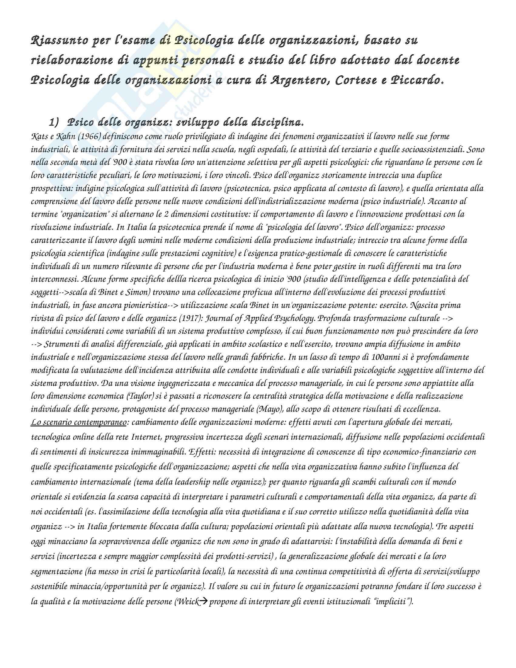 Riassunto esame Psicologia delle organizzazioni, prof. Di Fabio, libro consigliato Argentero, Cortese, Piccardo