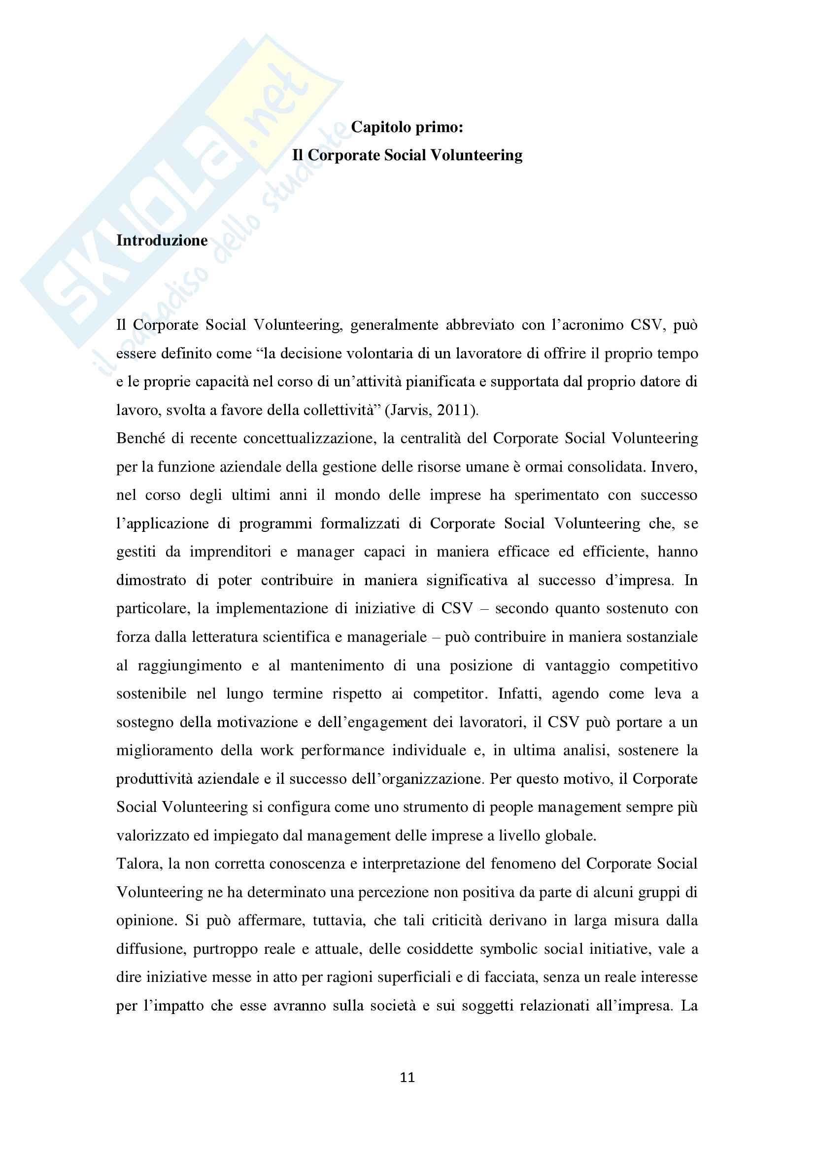 Tesi Corporate Social Volunteering Pag. 11