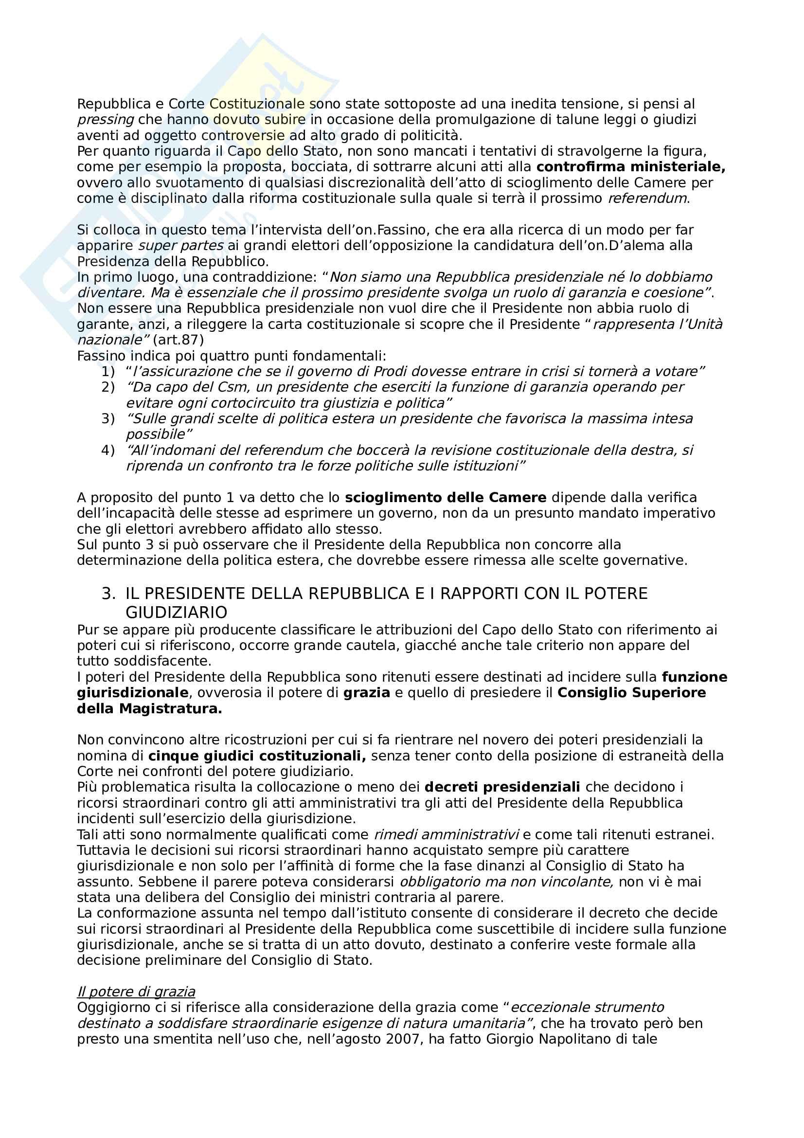 Riassunto esame Diritto Pubblico, prof. Siclari, libro consigliato Il presidente della Repubblica nelle recenti esperienze costituzionali, autore Siclari Pag. 2
