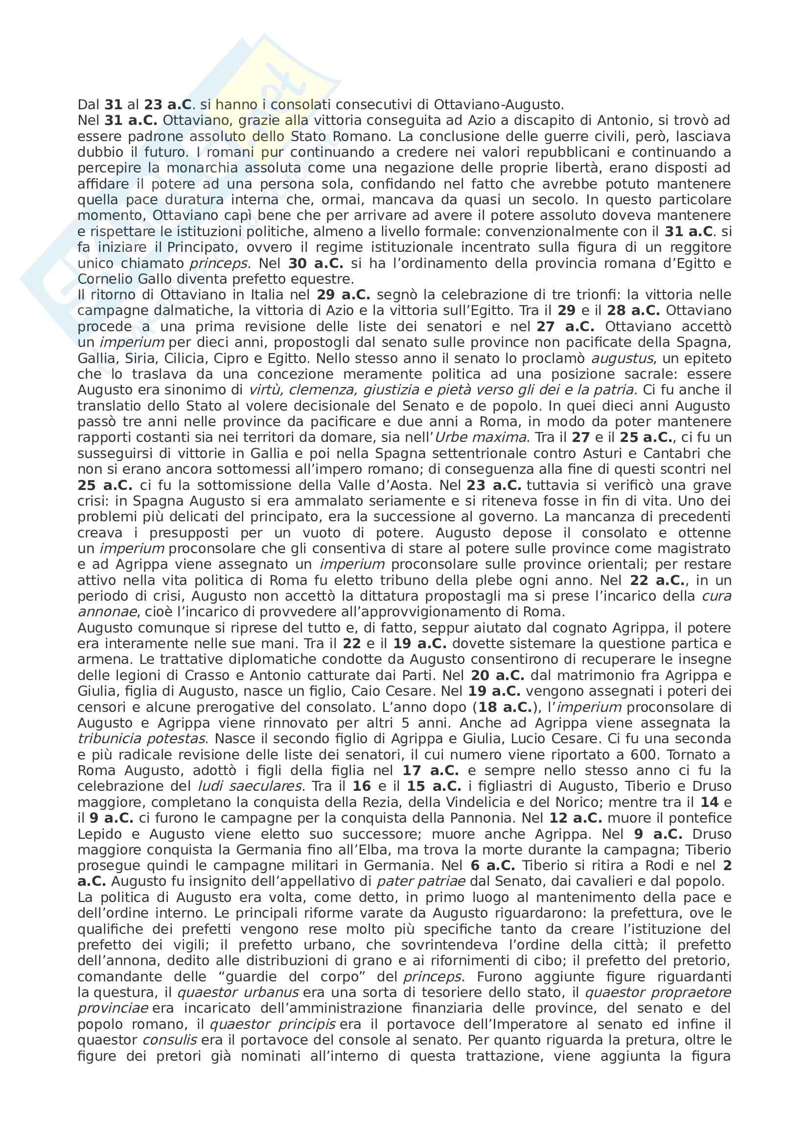 Riassunto seconda parte esame Storia Romana, prof Lizzi, libro consigliato Storia Romana, Geraci, Marcone