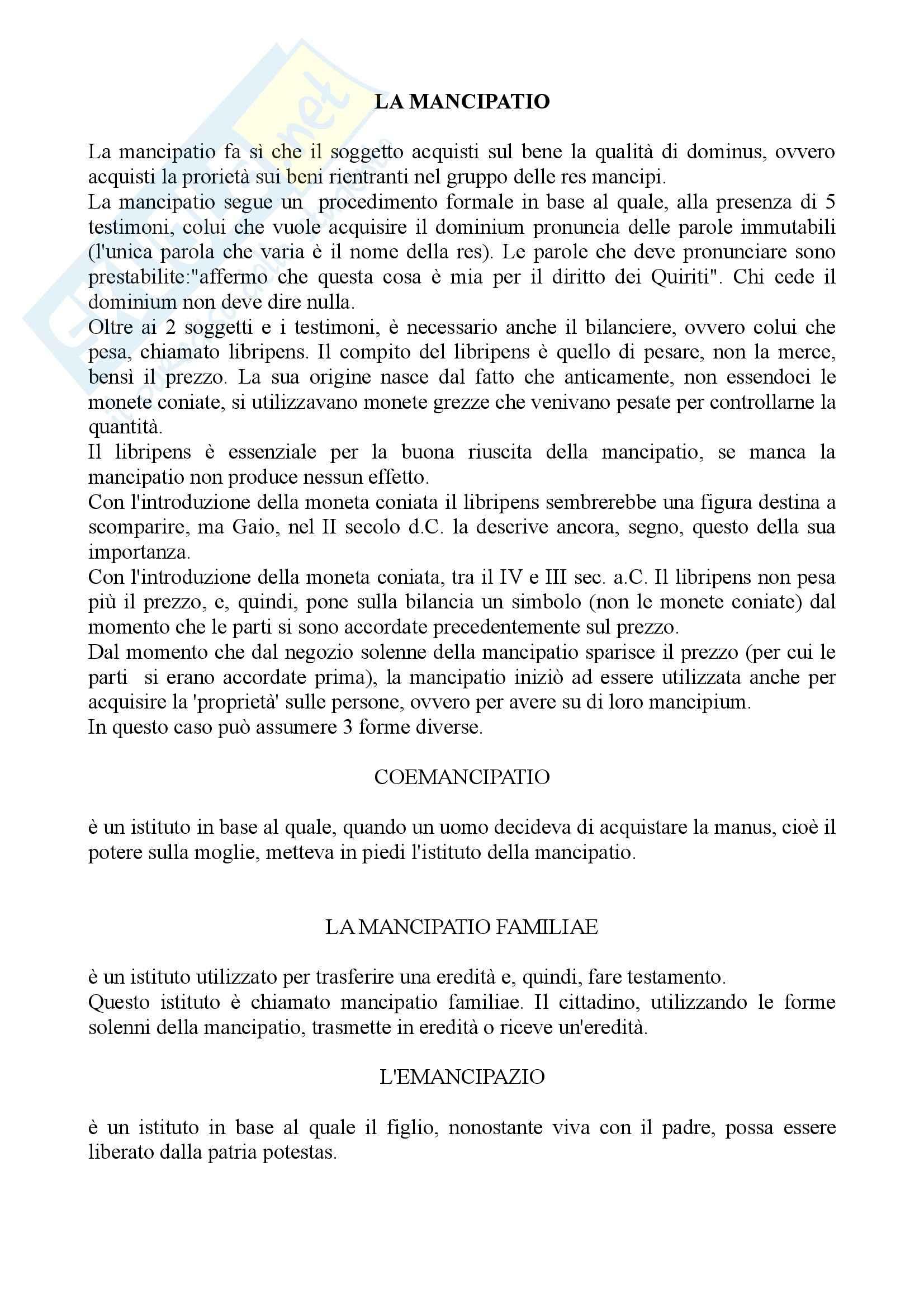 Diritto romano - la mancipatio