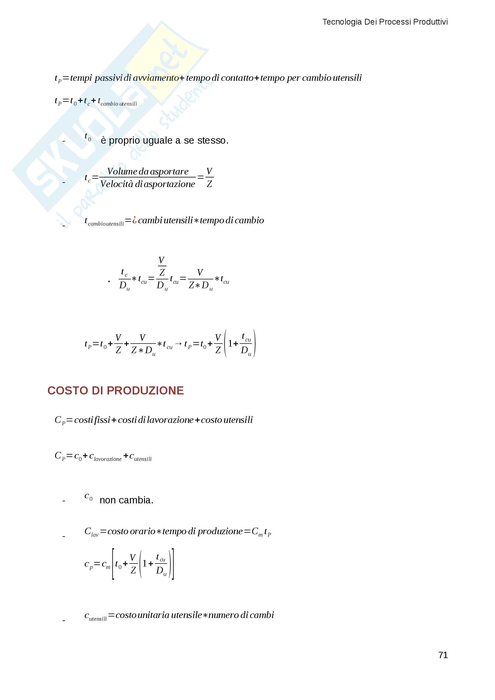 Appunti e Riassunti Tecnologia Dei Processi Produttivi (TPP), Gestionale Sapienza Pag. 71