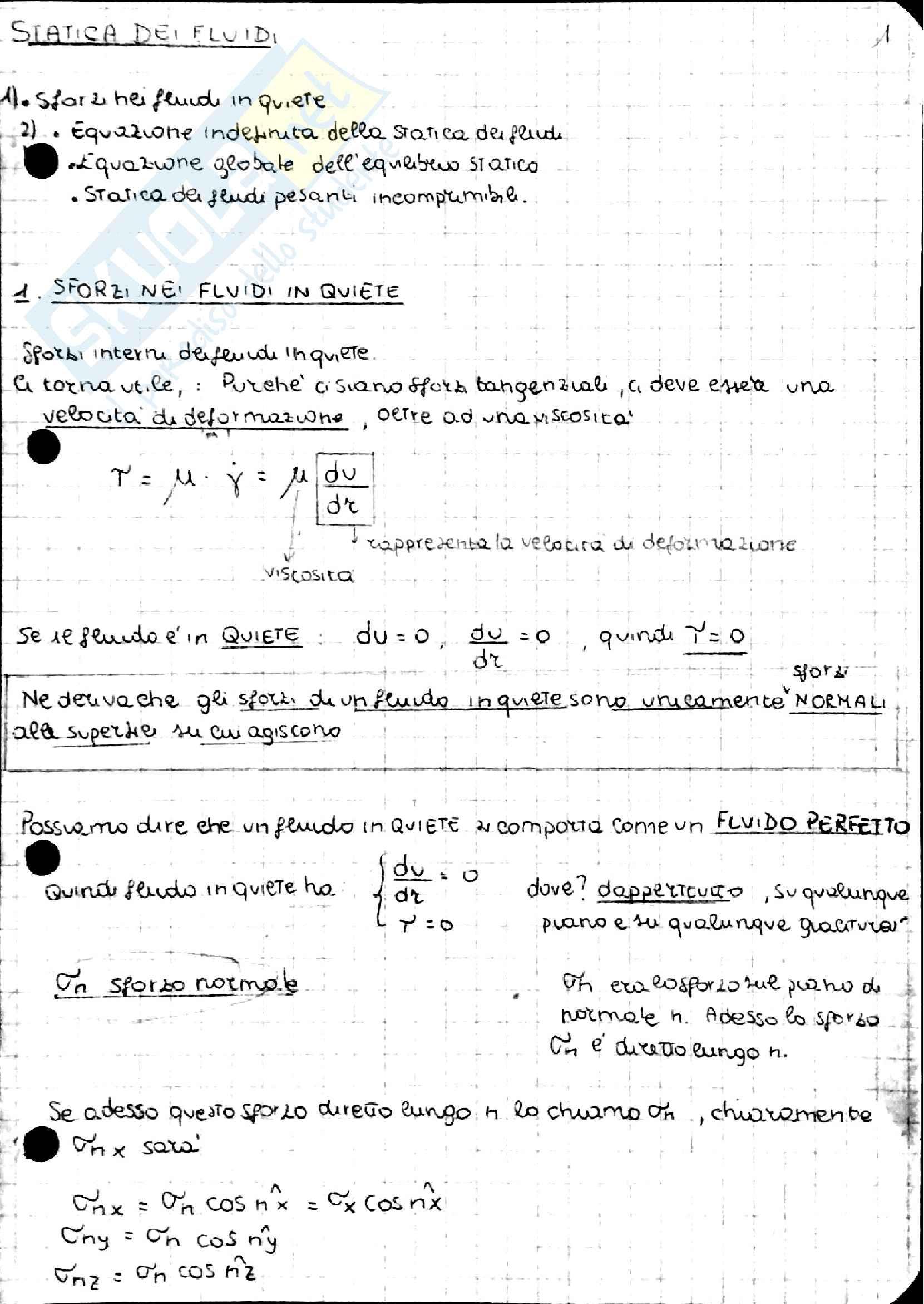 Statica Cinematica e Dinamica dei fluidi