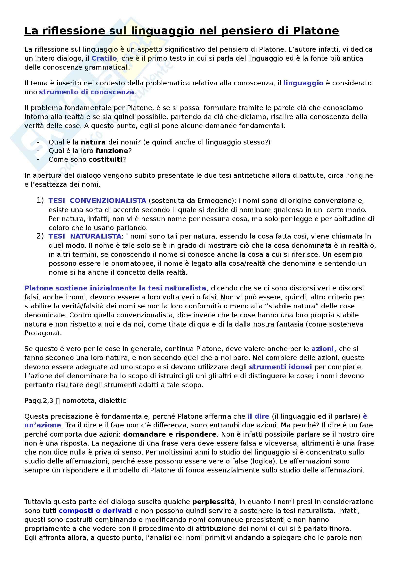 Linguistica italiana - La riflessione sul linguaggio nel pensiero di Platone